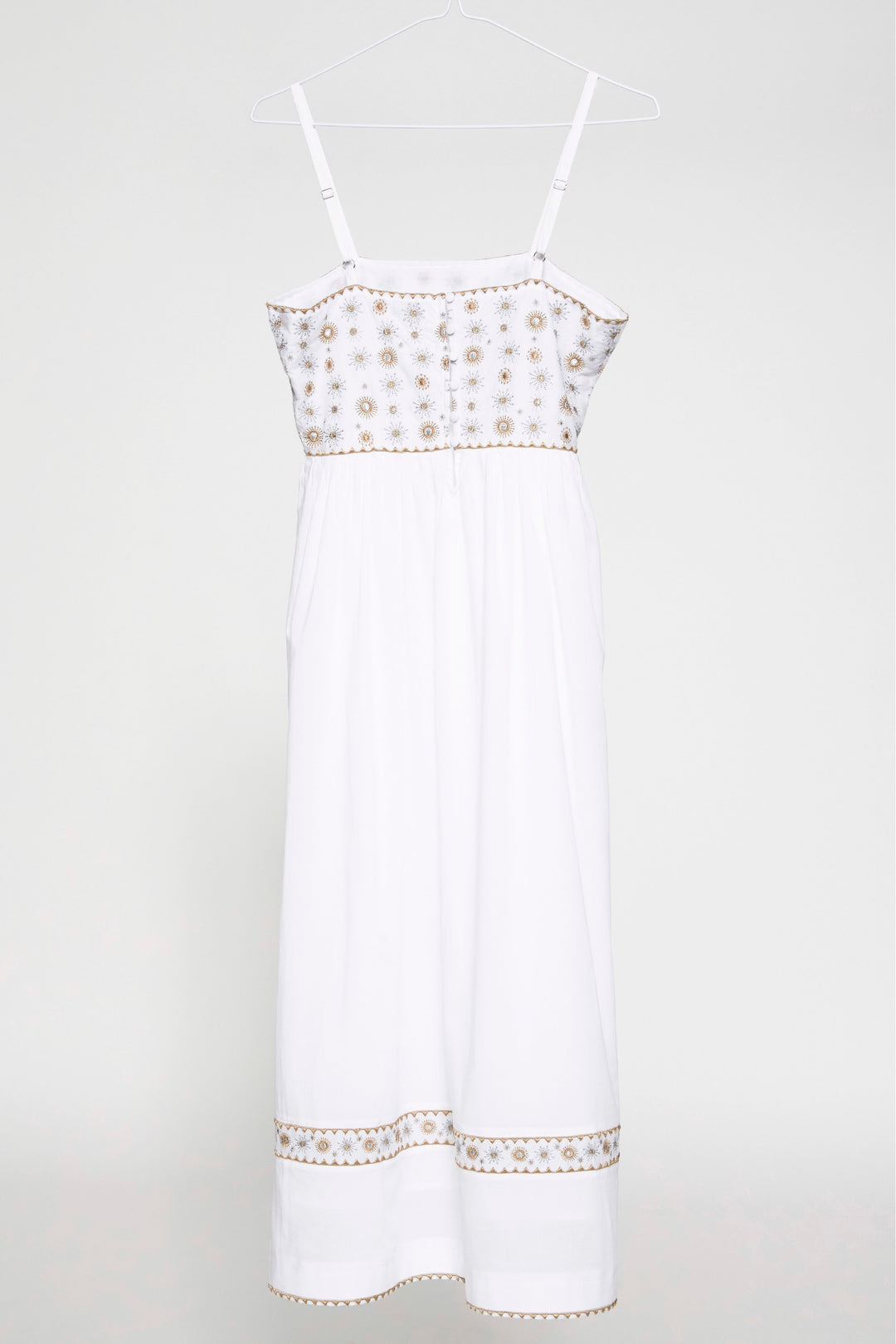 WHITE EMBROIDERED COTTON SUMMER MIDI DRESS FOUNDLING
