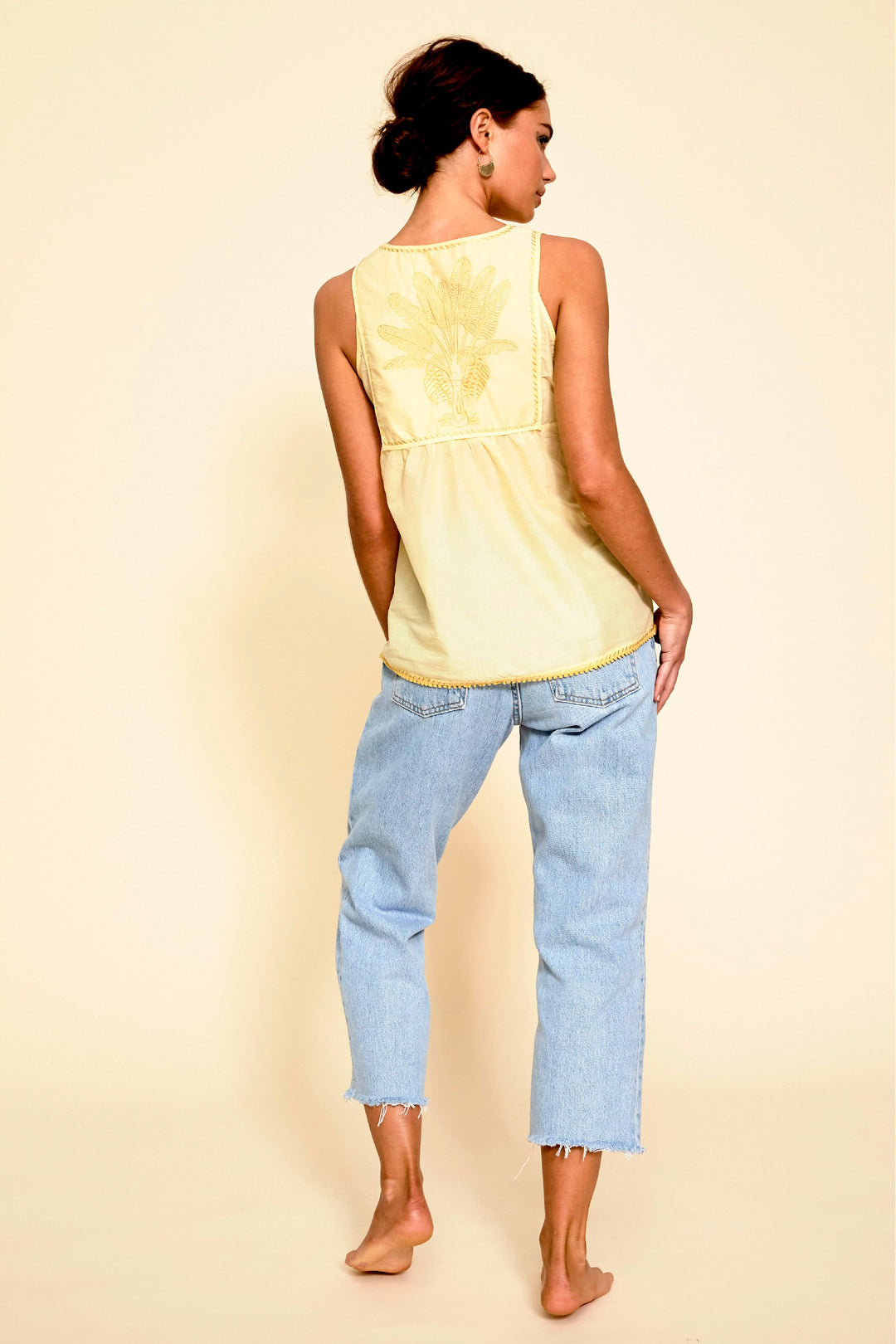 lemon yellow pastel embroidered palladio camisole top summer foundling
