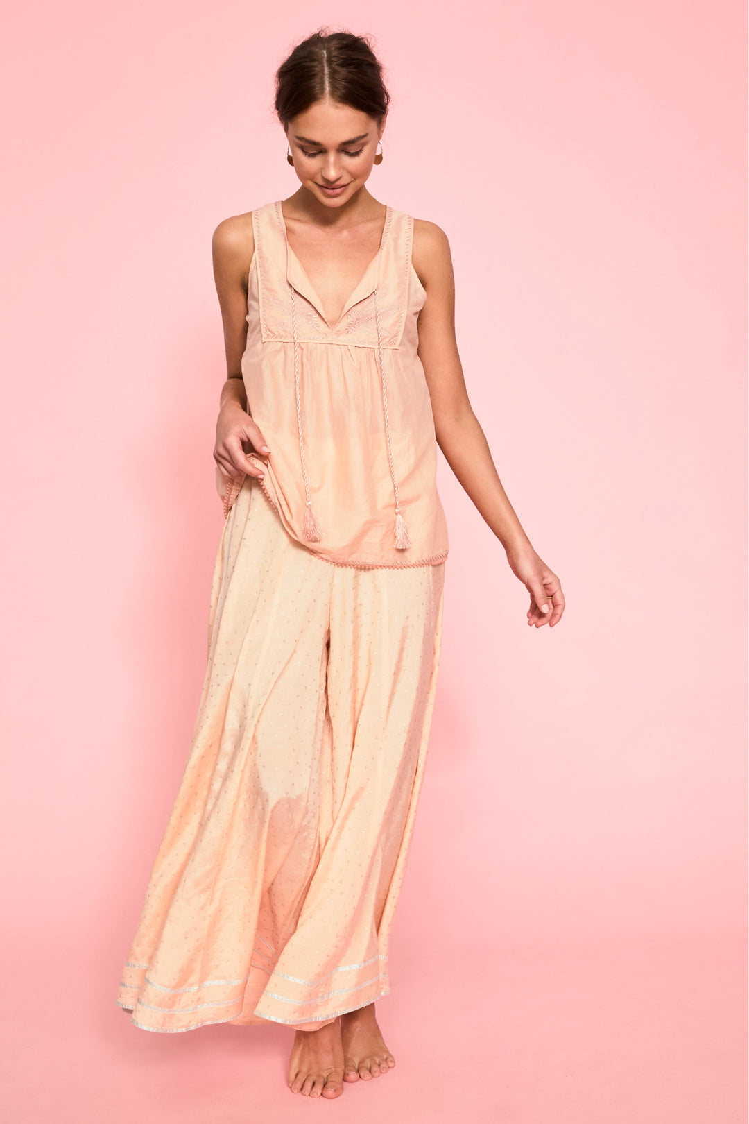 peach pink embroidered palladio camisole summer top foundling