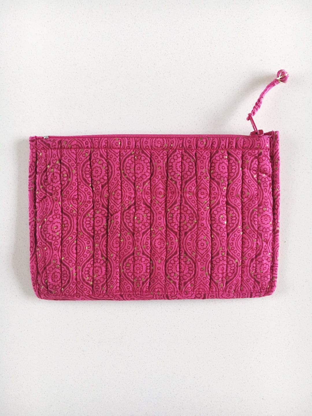 anokhi block print cosmetics purse pomegranate