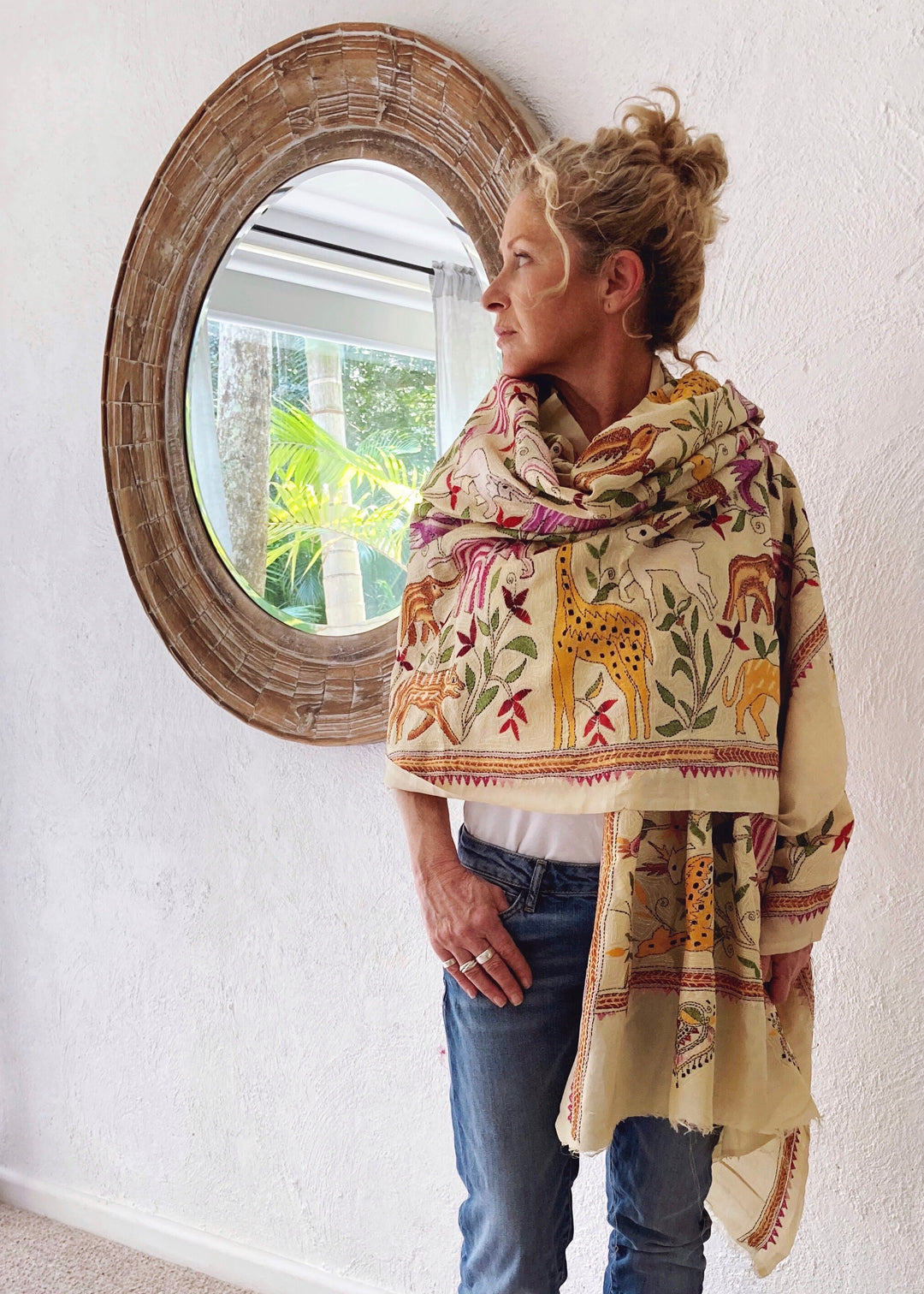 Raw silk hand embroidered oversize shawl