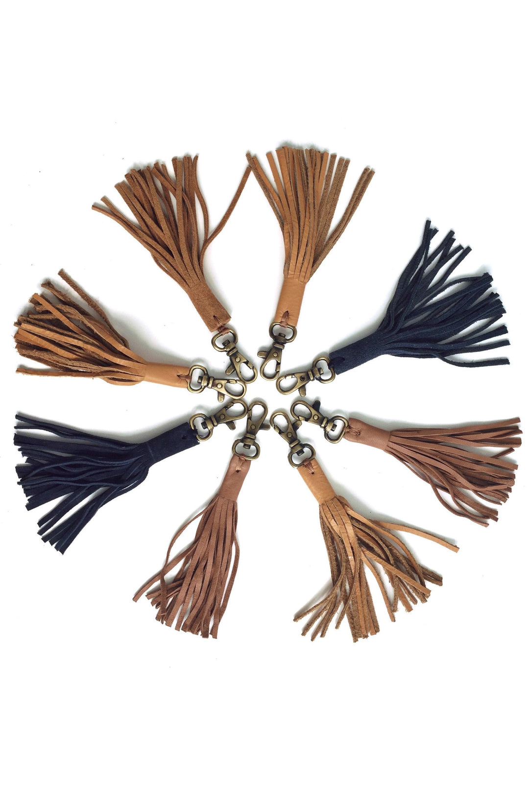 clearance: tan leather fringe tassel