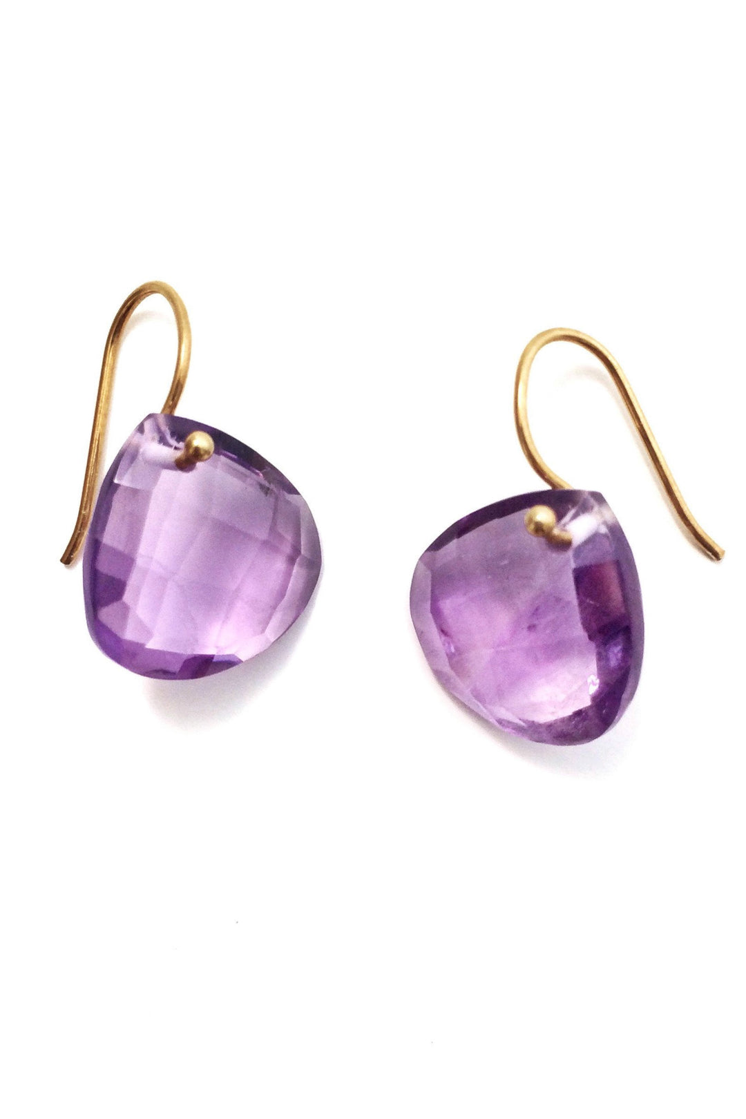Amethyst teardrop earrings gold hook