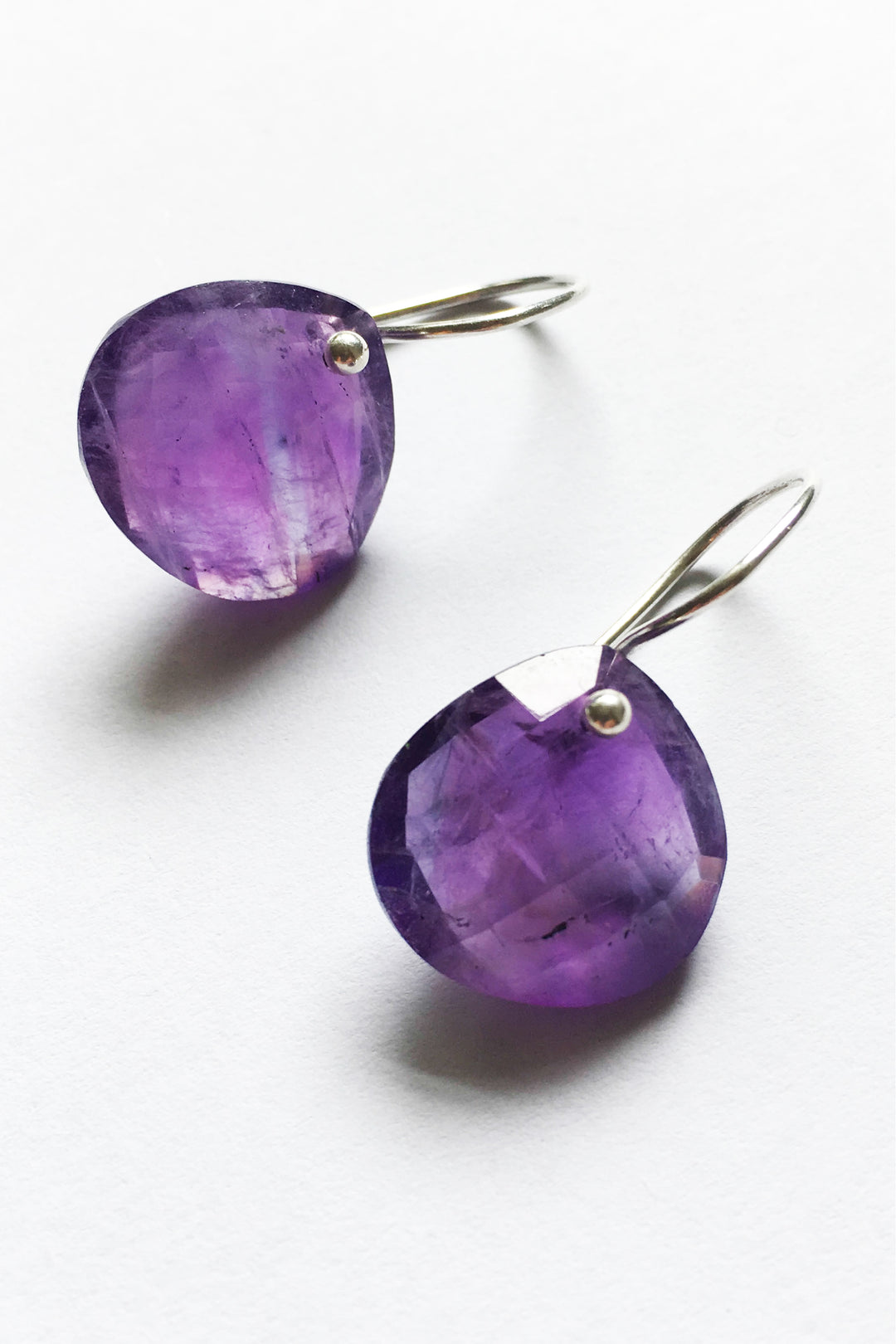 Amethyst teardrop earrings silver hook