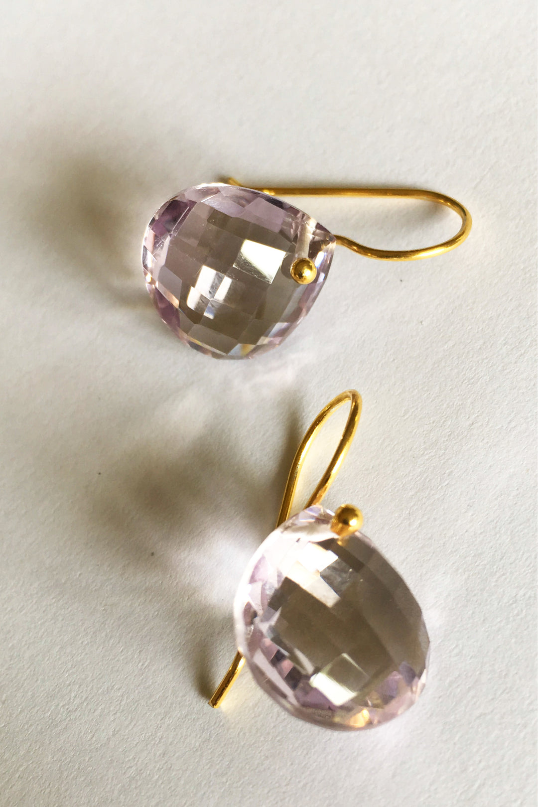 amethyst tear drop earrings gold hook