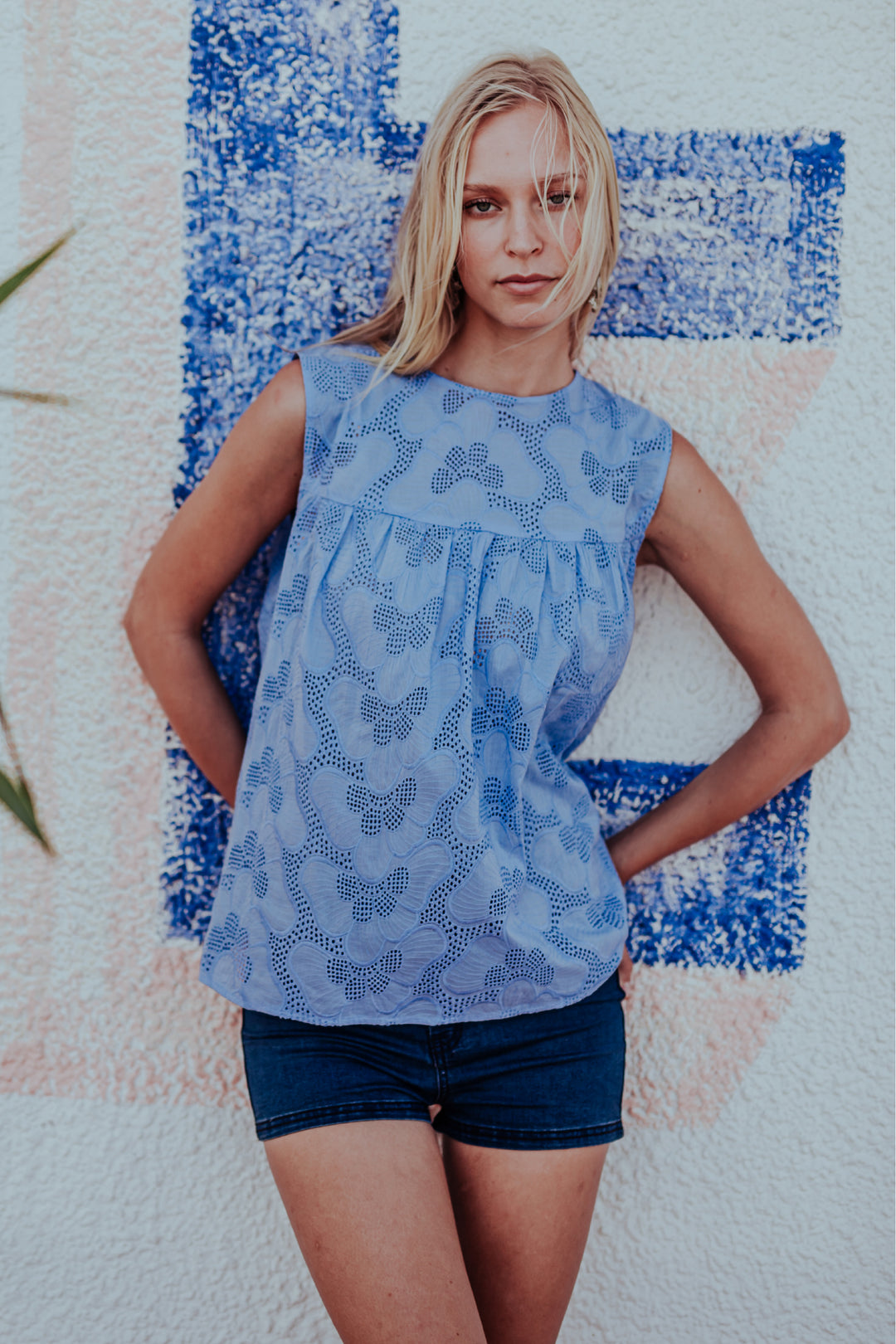 Broderie Anglaise Shell Top Lapis