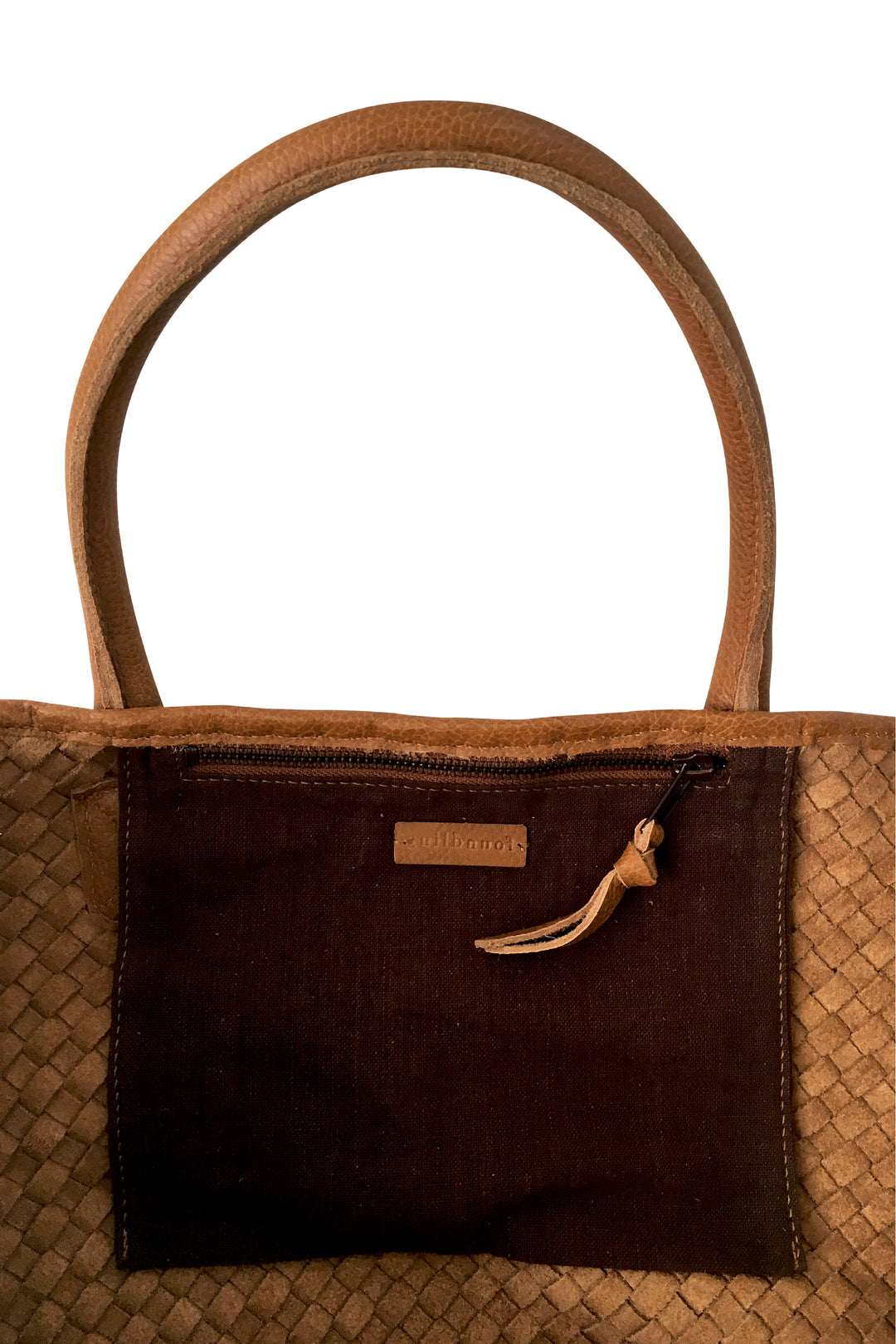 woven leather tote basket bag tan caramel inside pocket