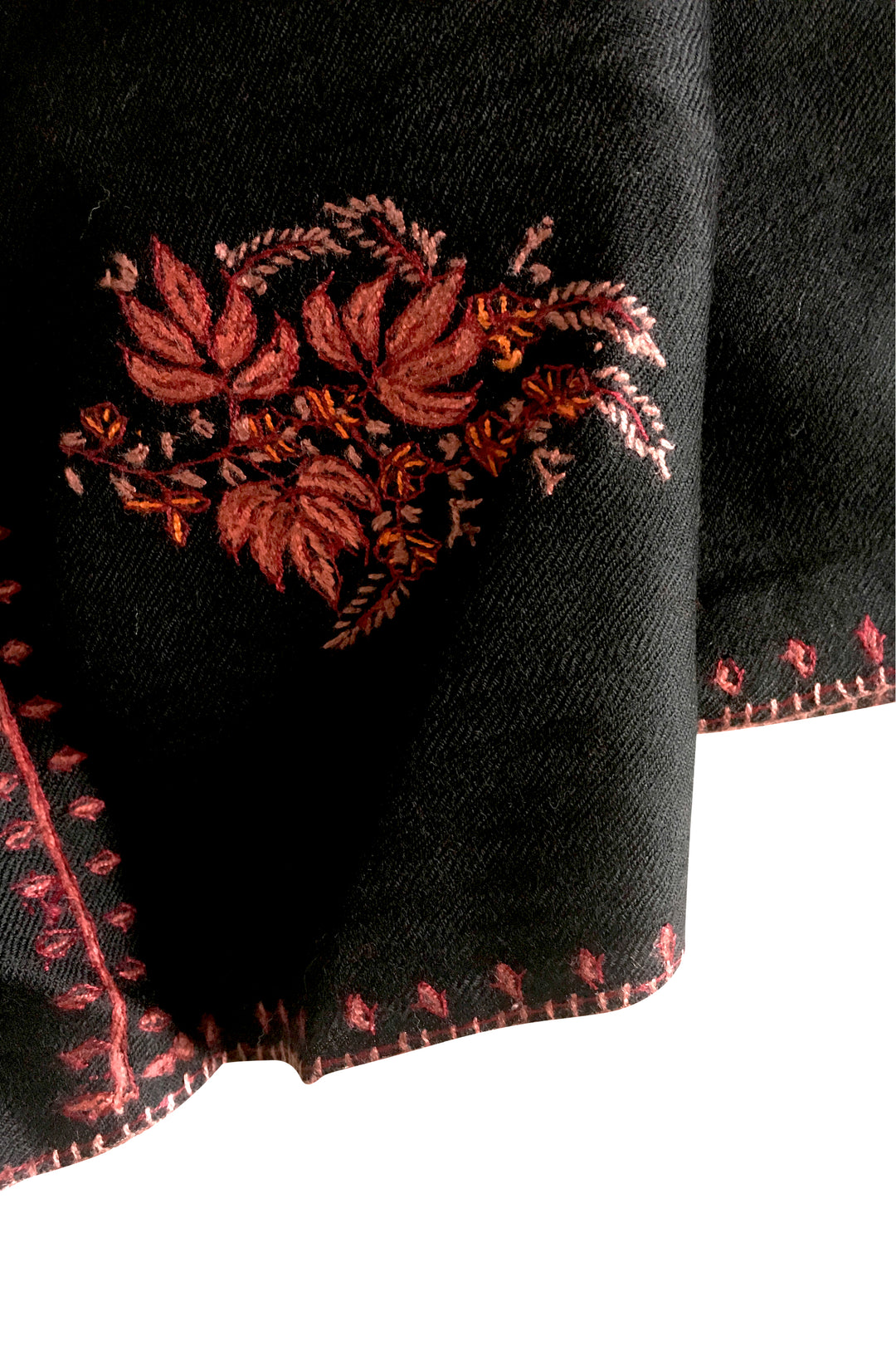 black embroidered shawl kashmir