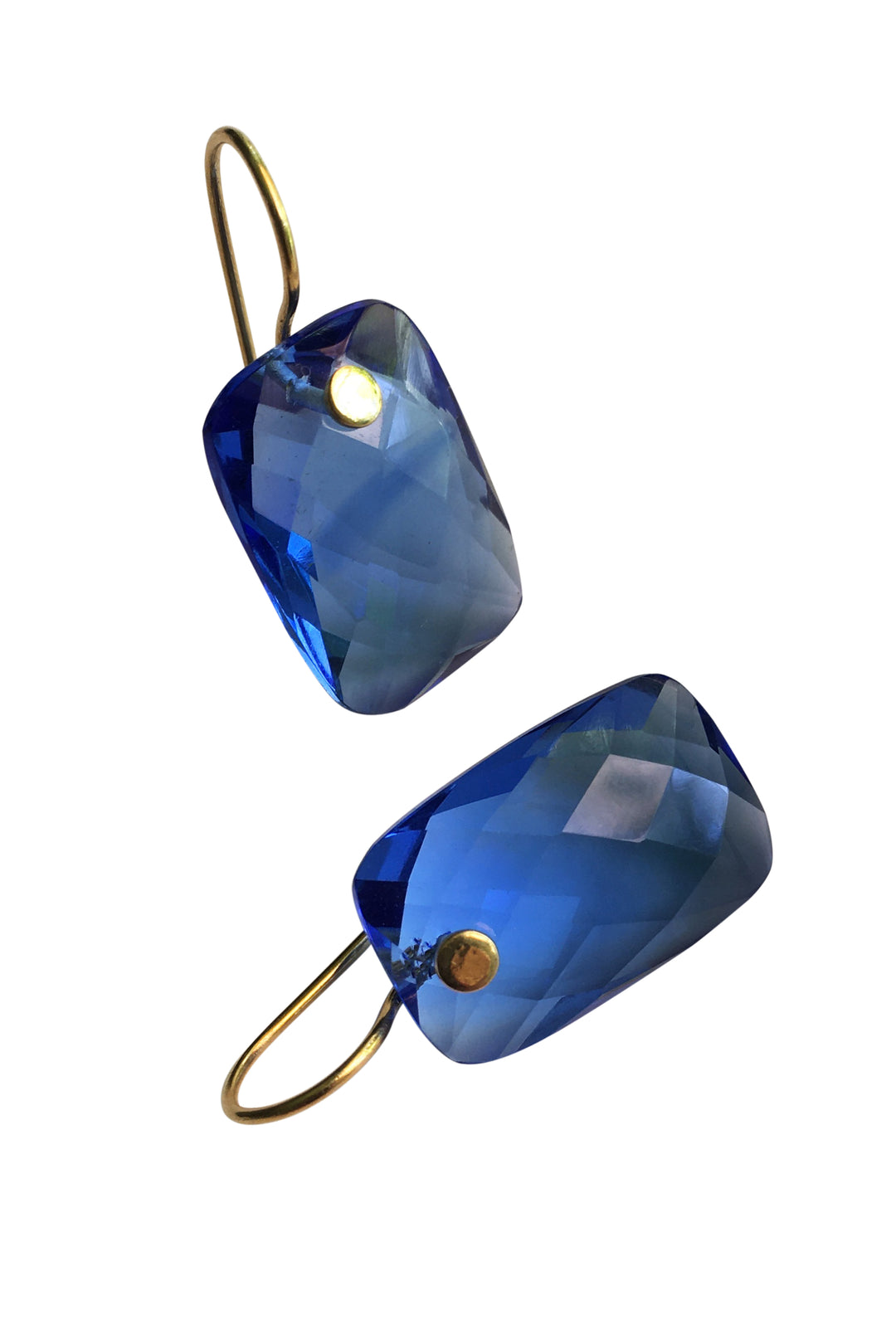 Sapphire blue faceted earrings
