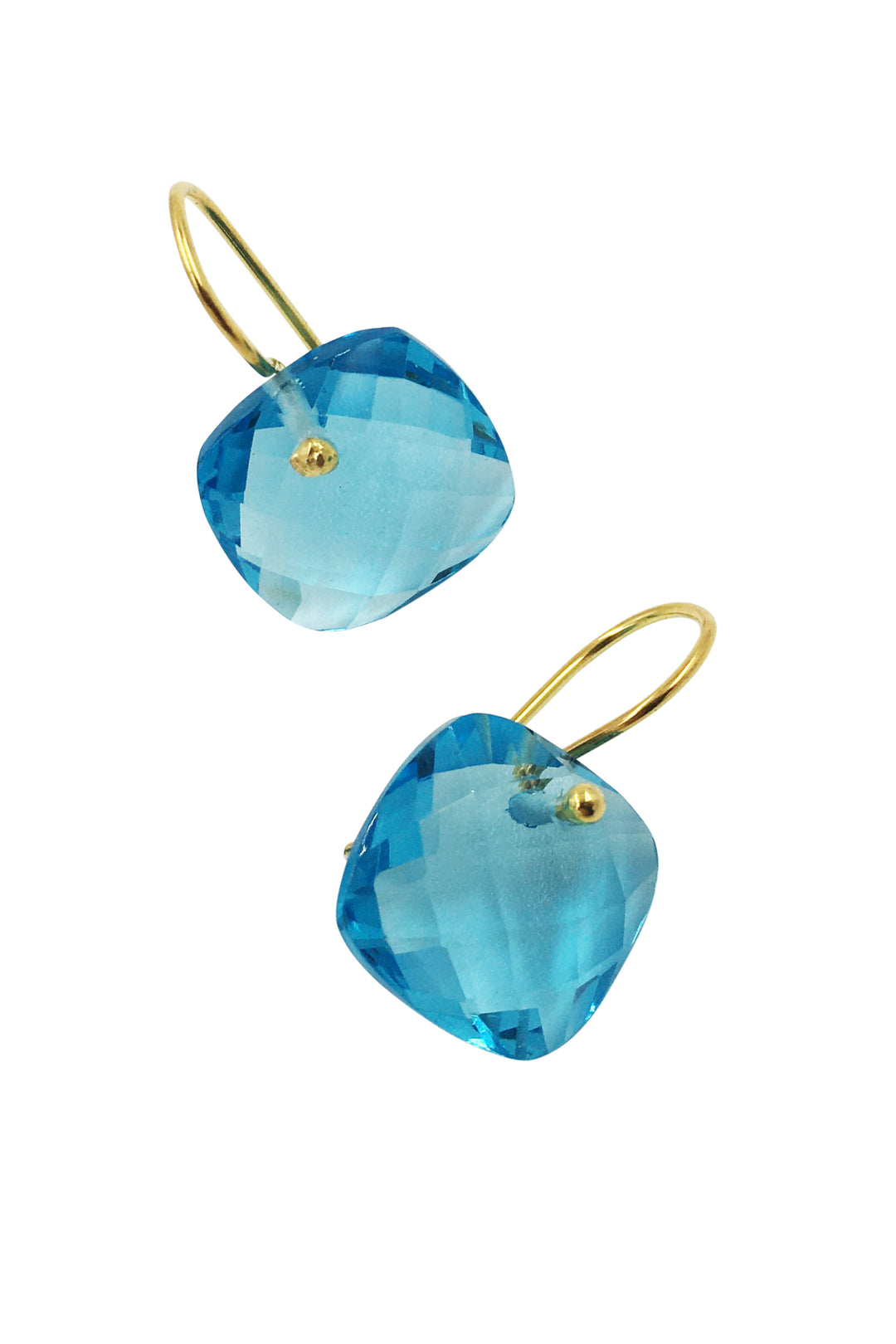 cerulean pillar box drop earrings