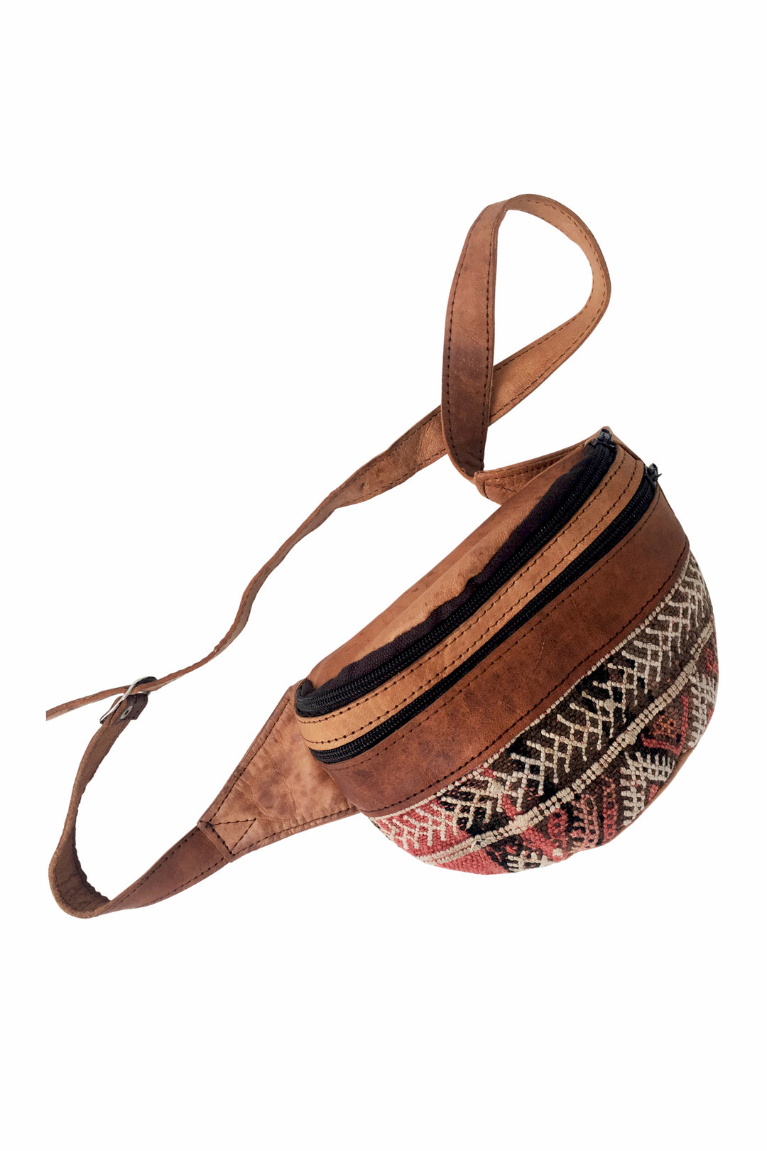 kilim leather belt pack rosewater