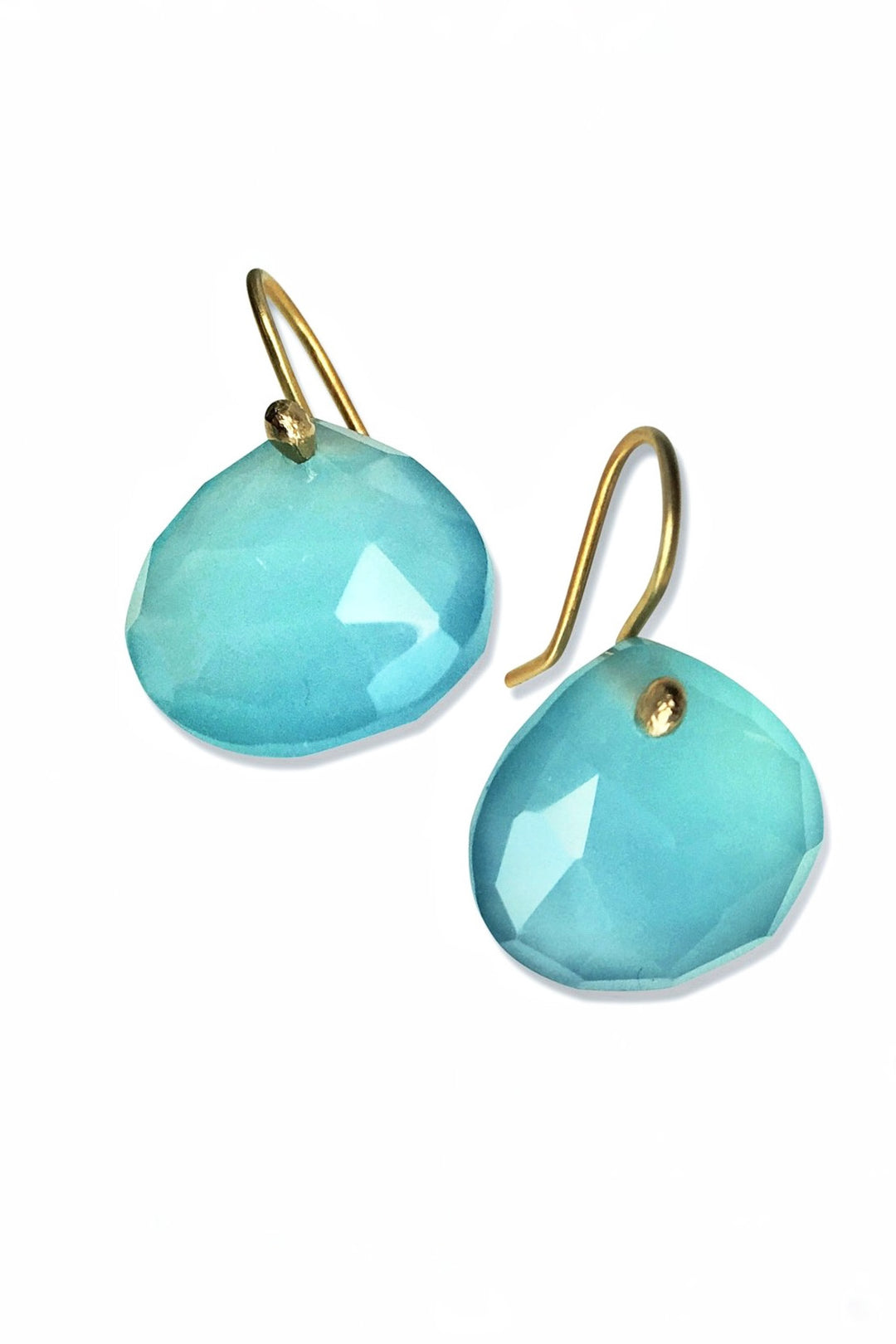 Chalcedony blue teardrop earrings