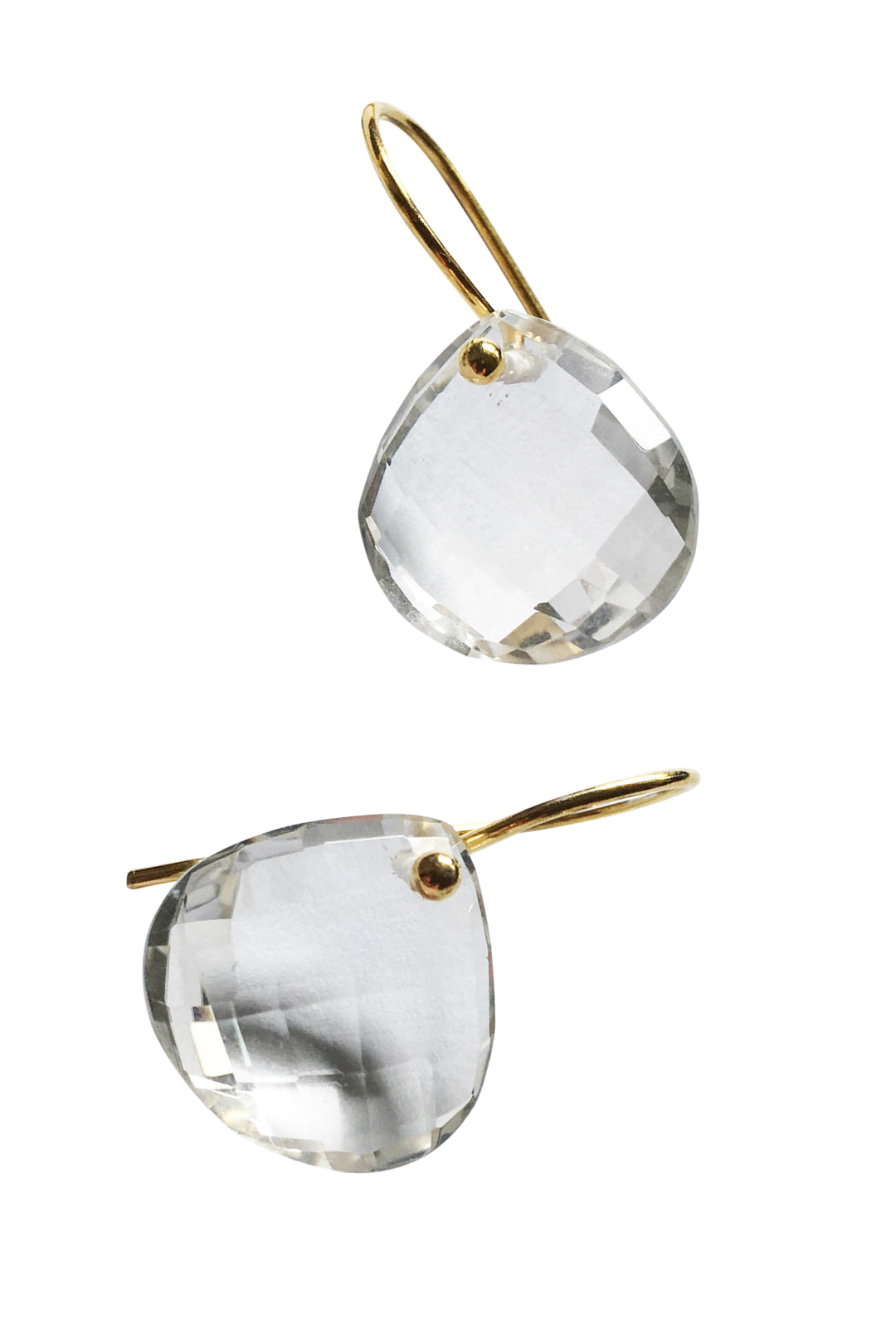 clear quartz tear drop earrings gold hooks
