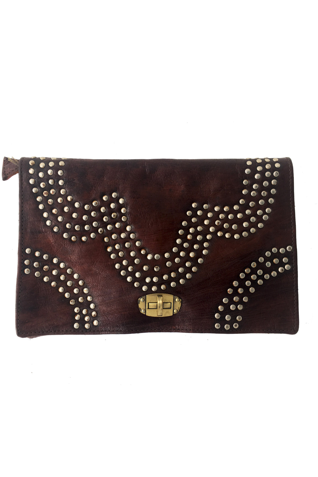 tangiers leather studded clutch bag