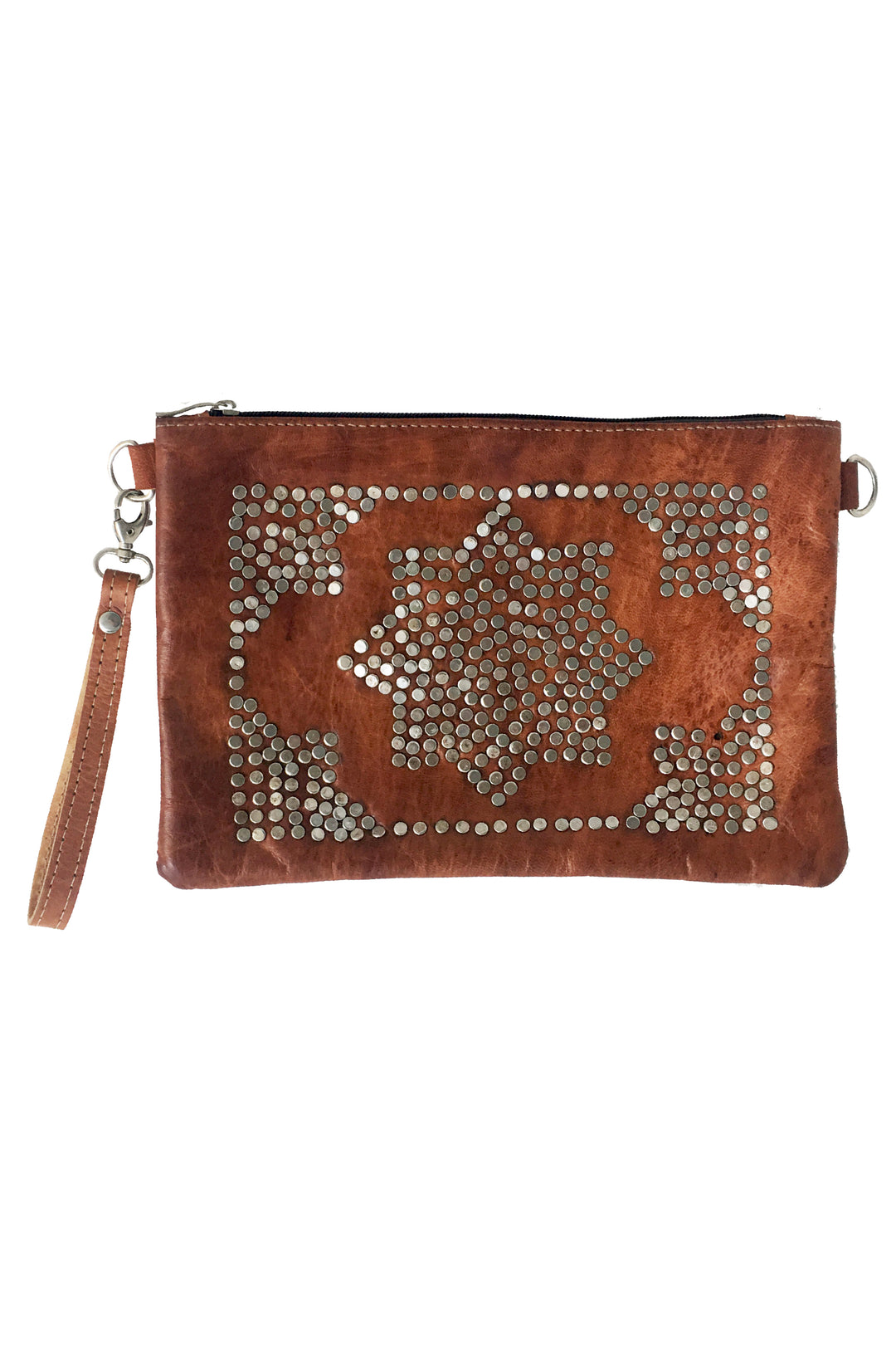 Marrakech leather studded clutch bag (2nds)