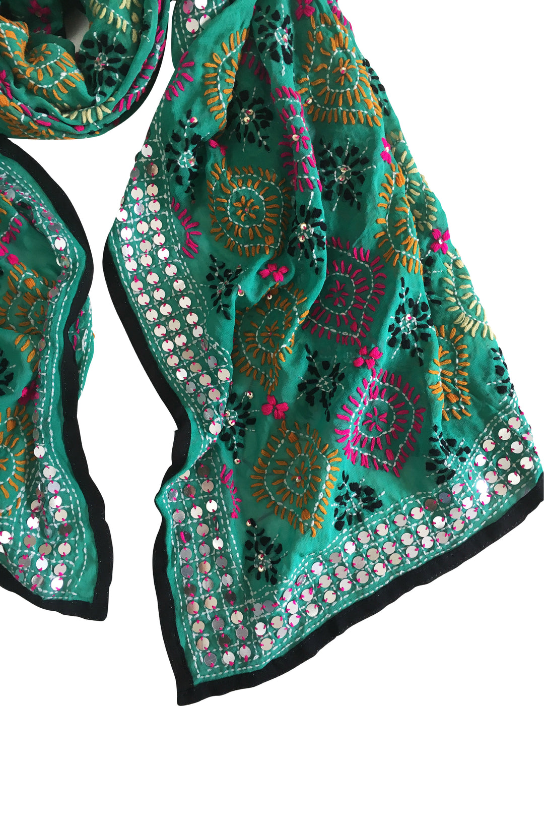 green embroidered punjab shawl