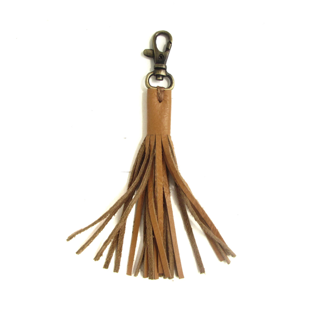 Tan leather fringe tassel charm