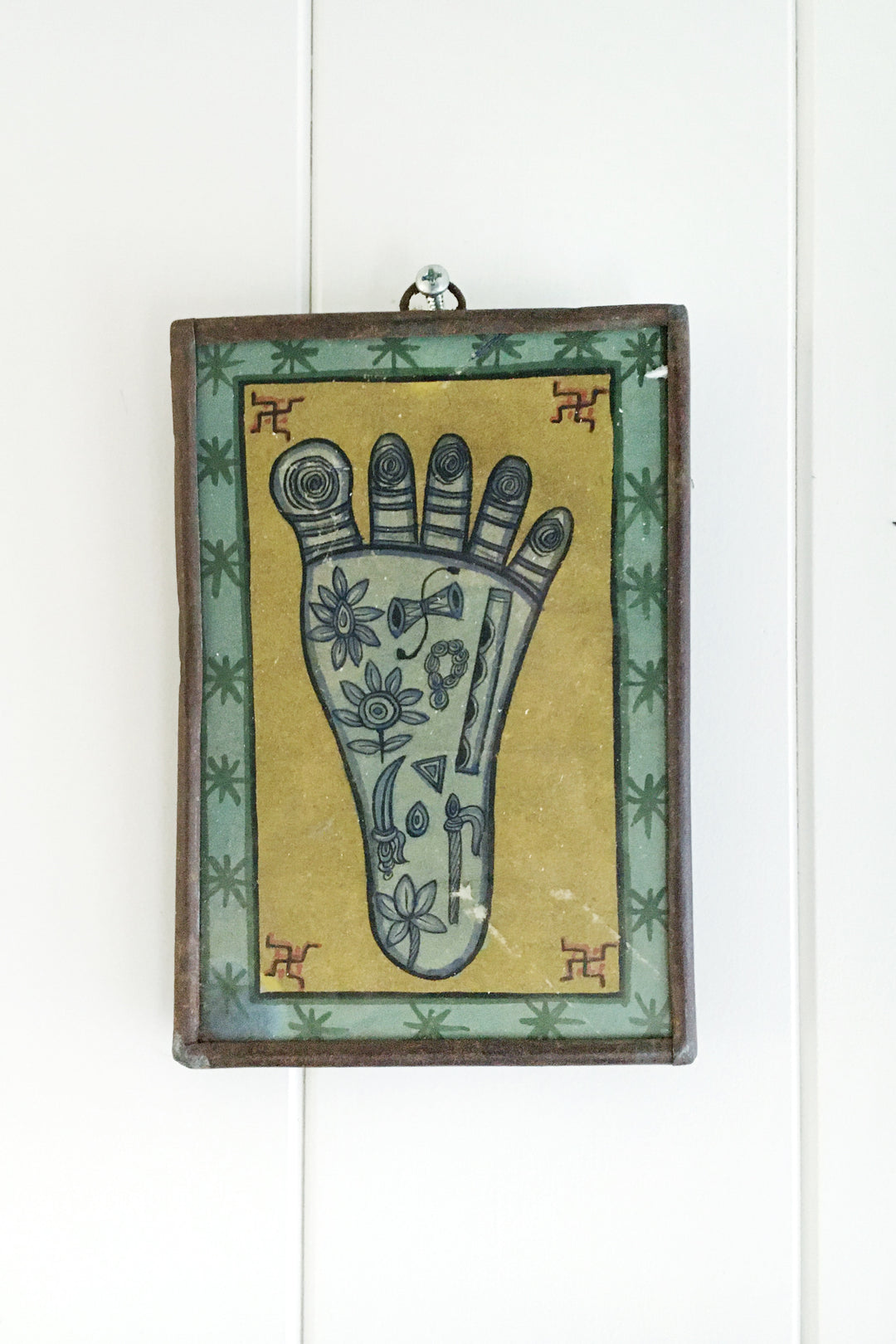 Vishnupada foot aqua framed miniature print