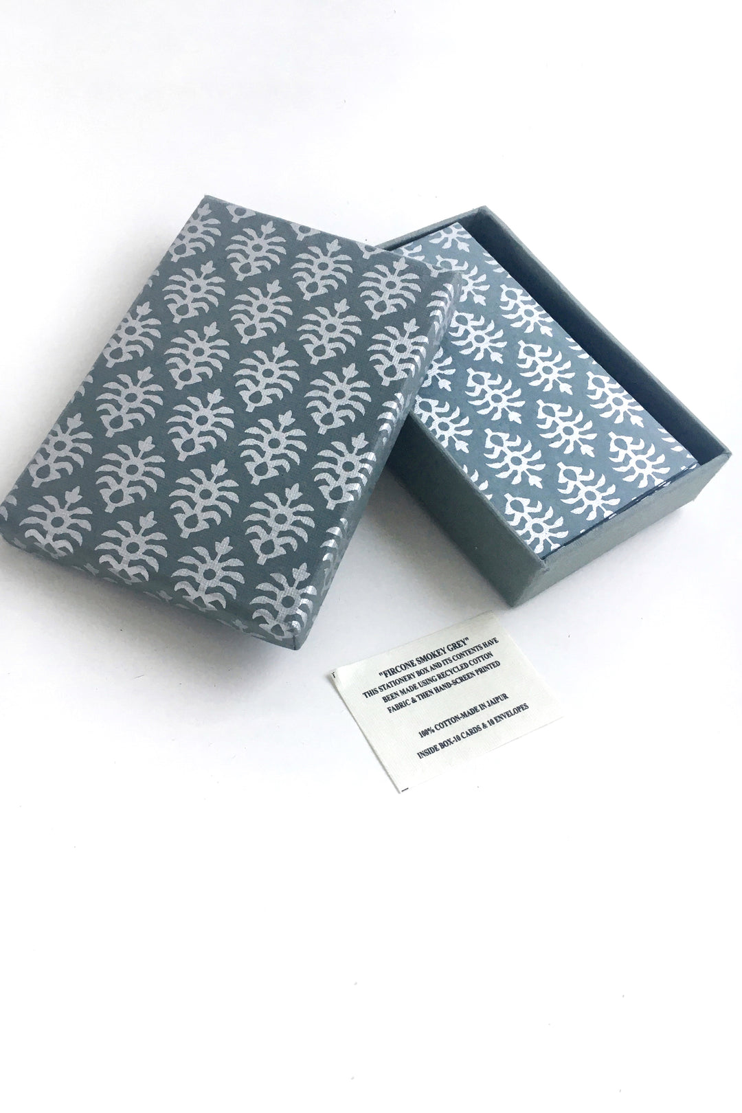 Anokhi Hand Block Print Cards Smokey Grey Box of 10