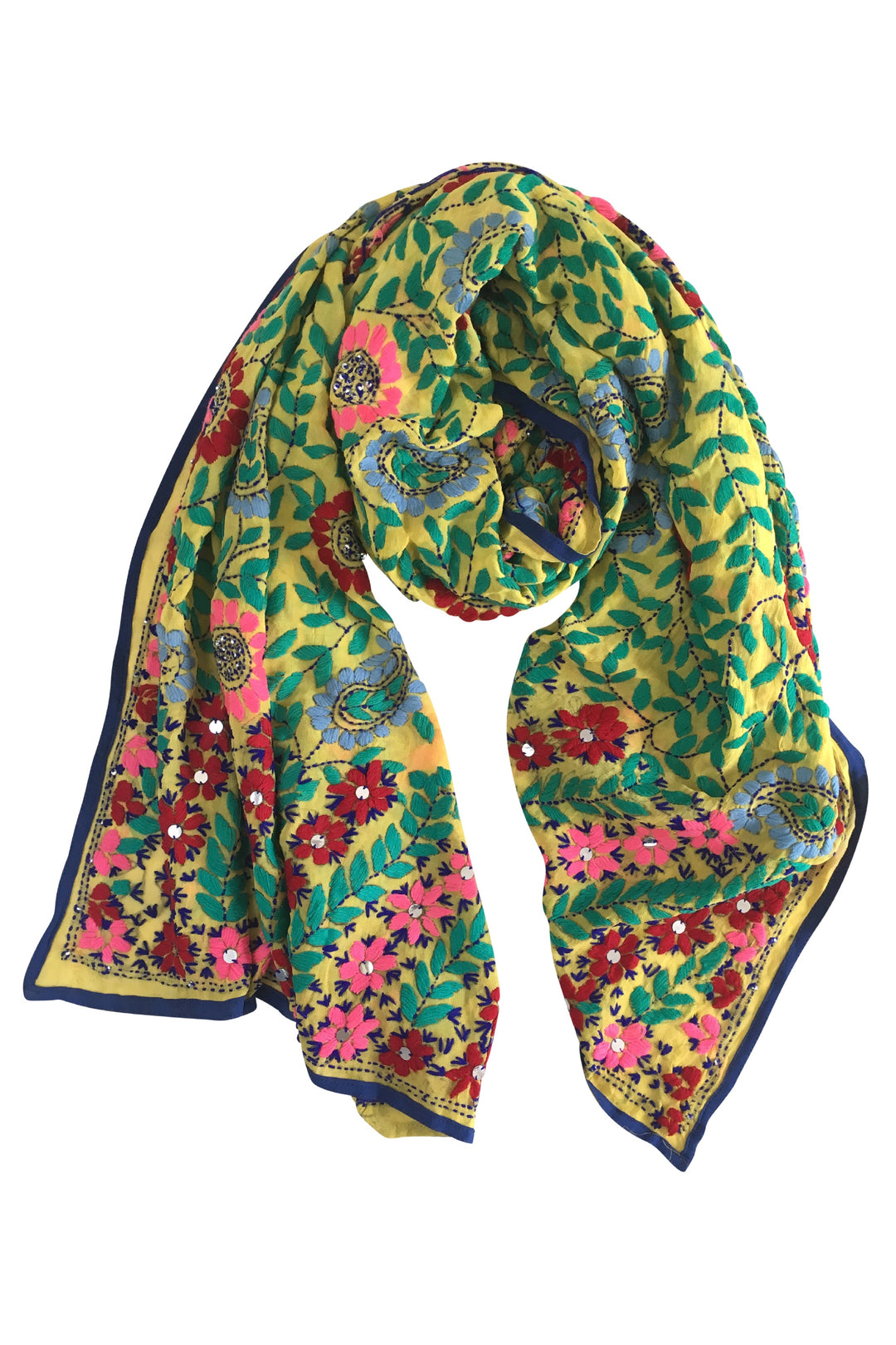 yellow embroidered punjab shawl scarf