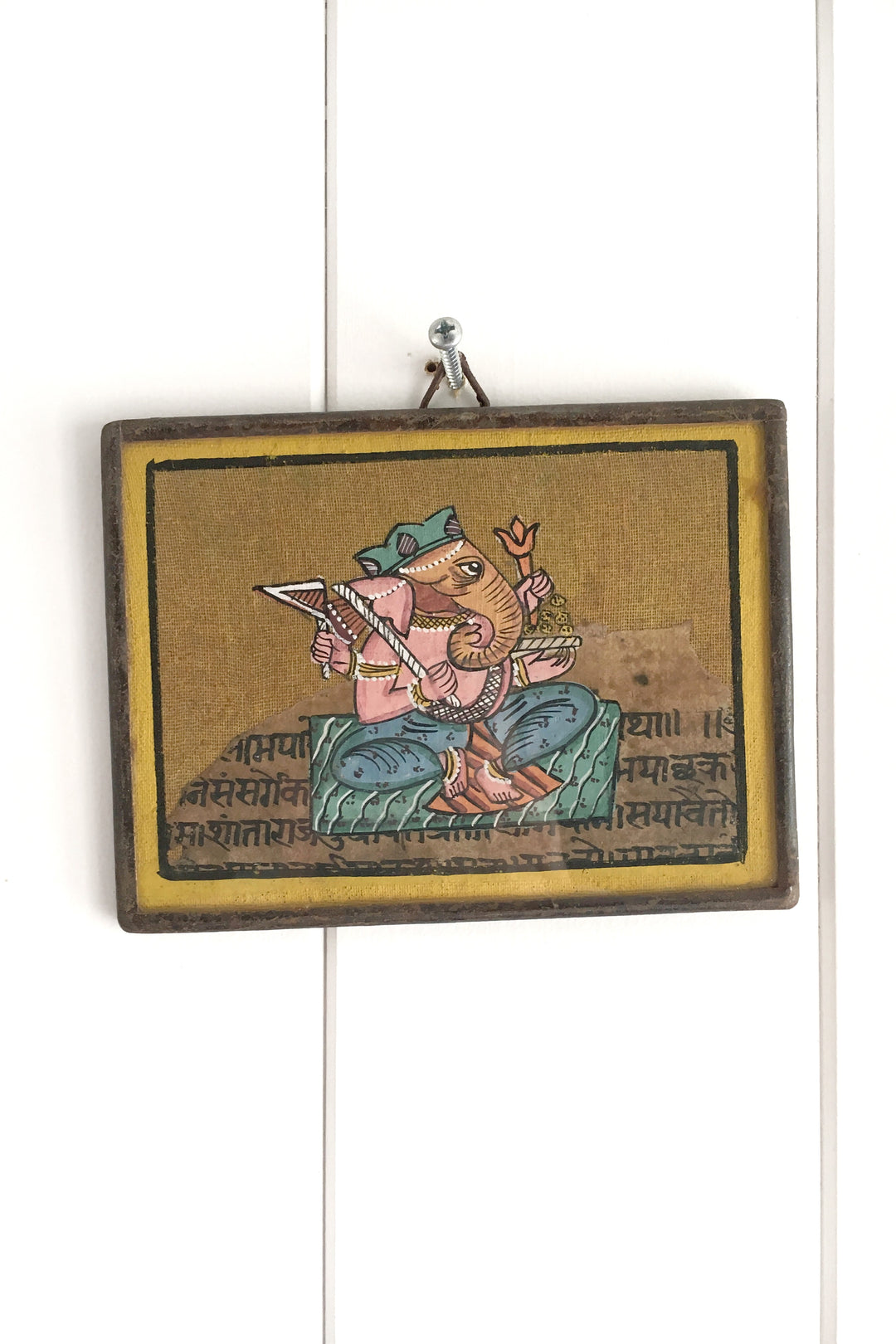 Ganesha khadi framed miniature watercolour