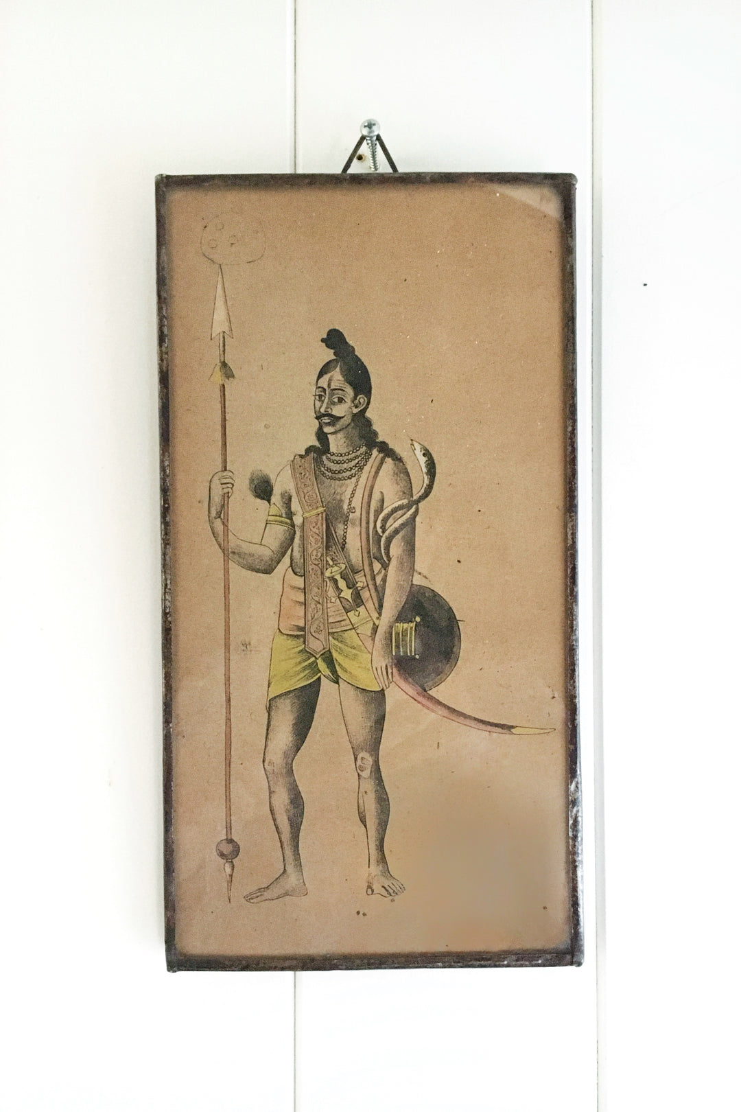 rajput warrior with serpent framed miniature