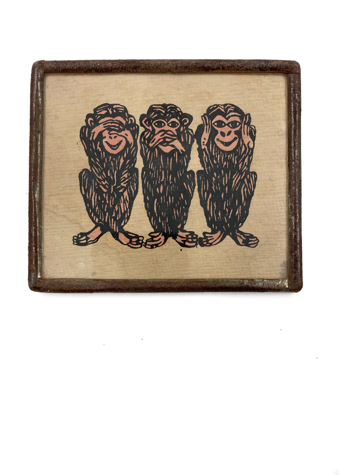 three wise monkeys framed miniature print