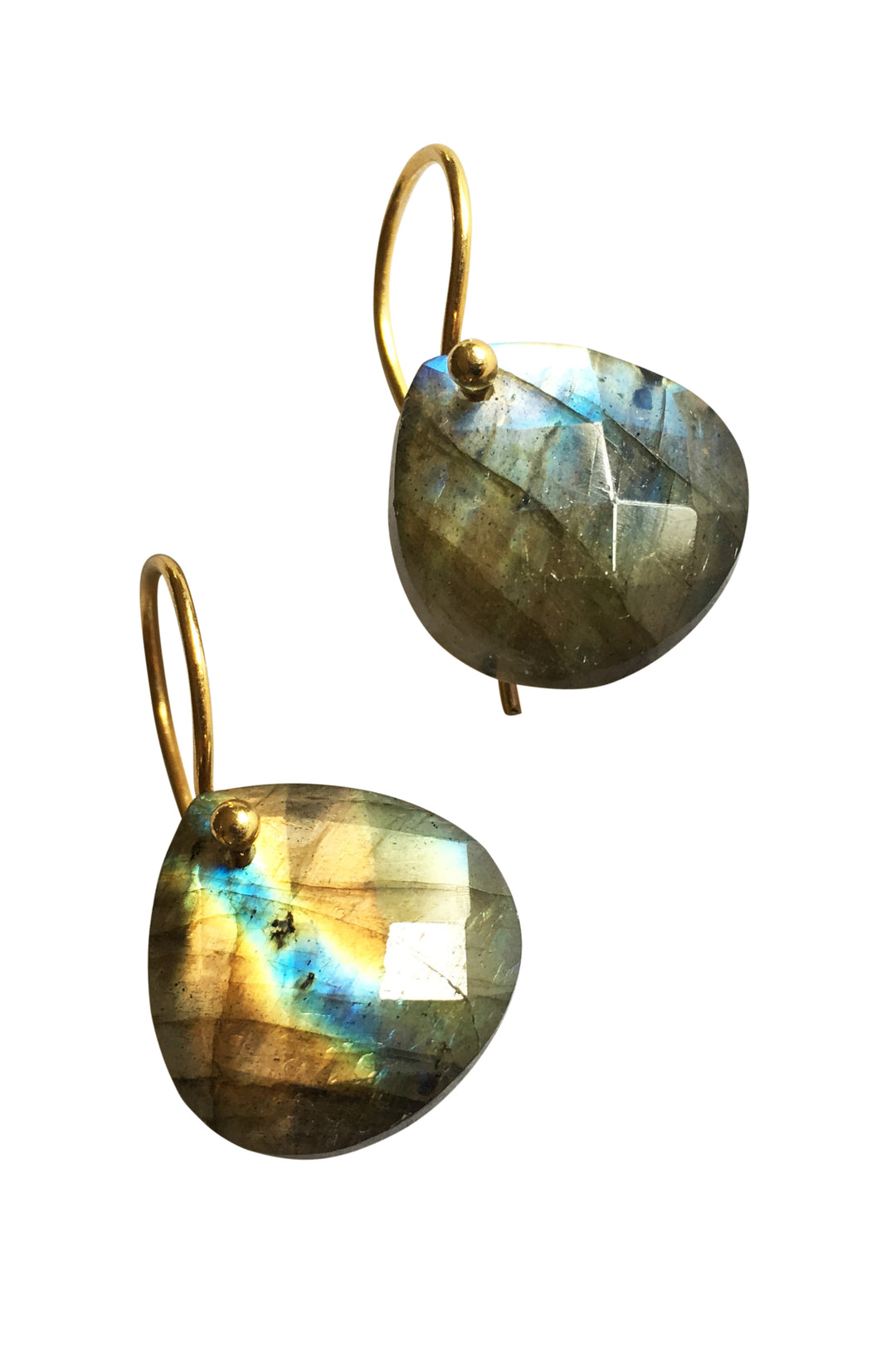 labradorite teardrop earrings gold hook