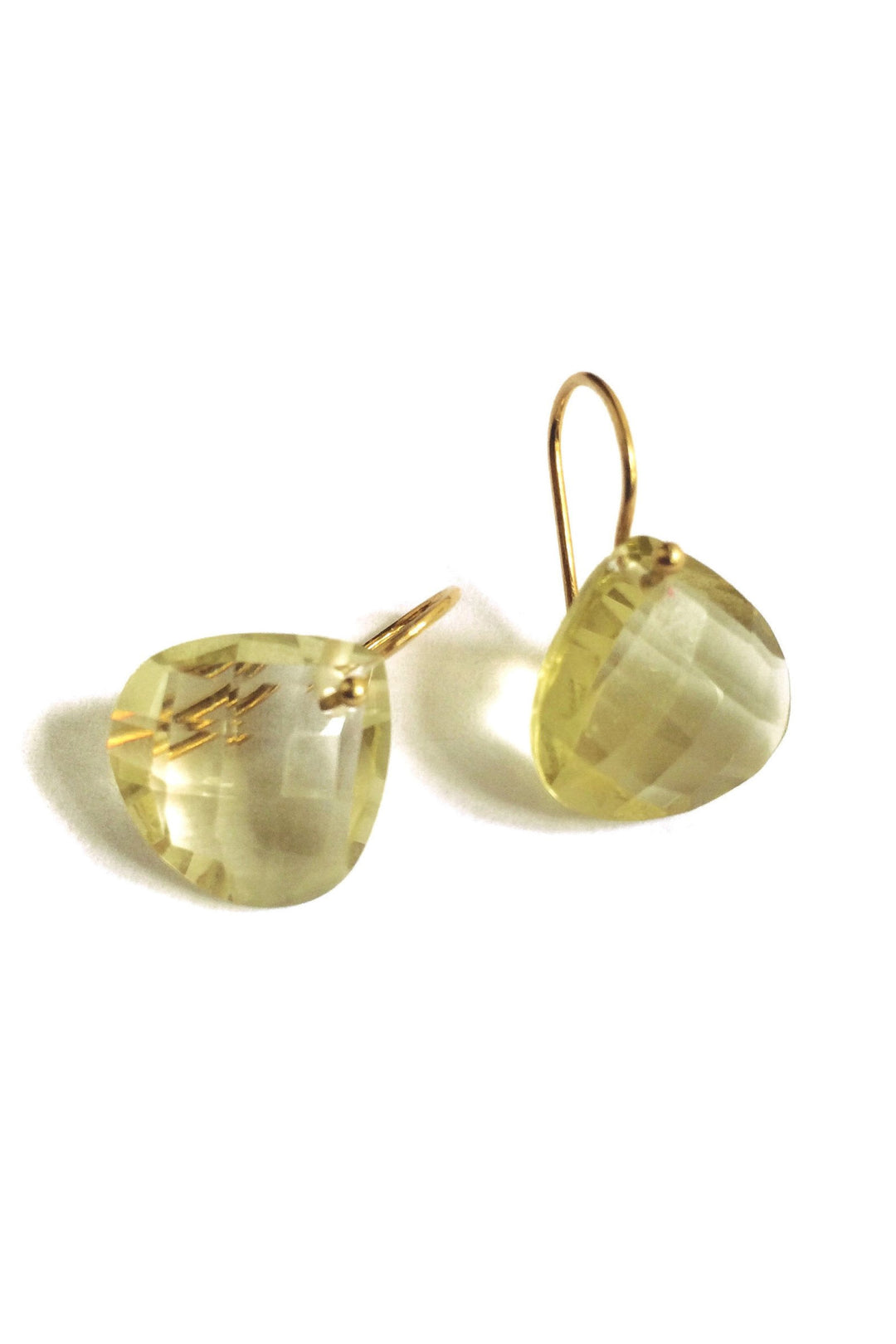 Lemon teardrop quartz earrings