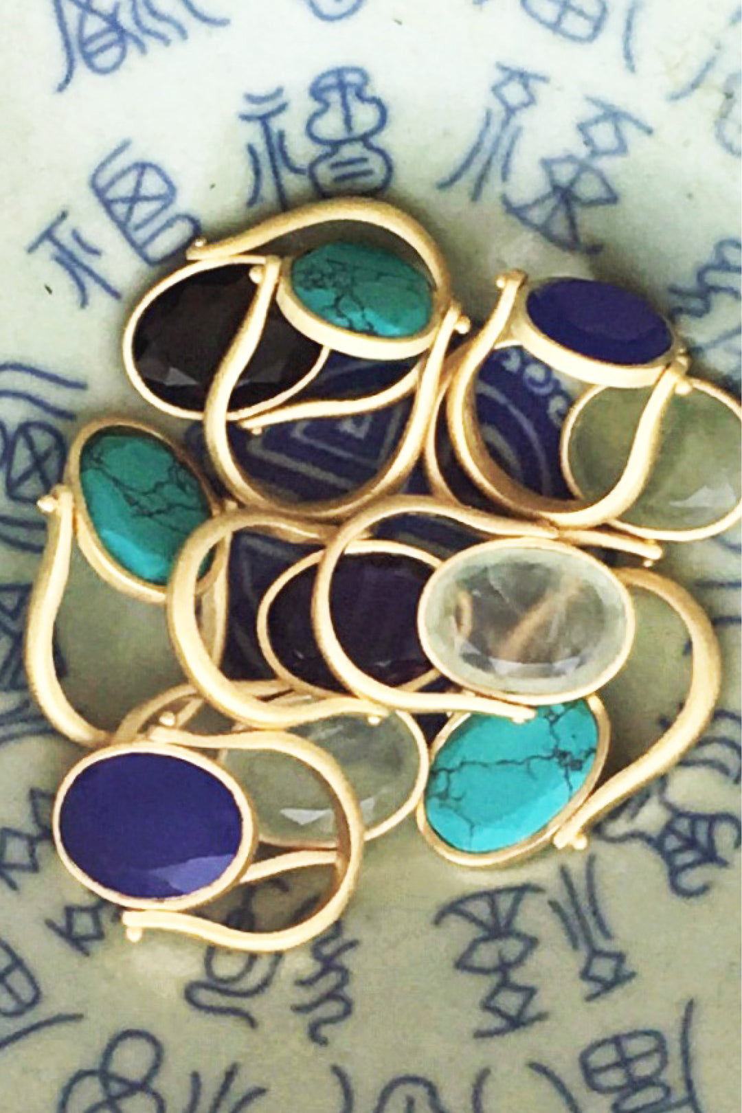 cocktail rings gold semi precious stones large