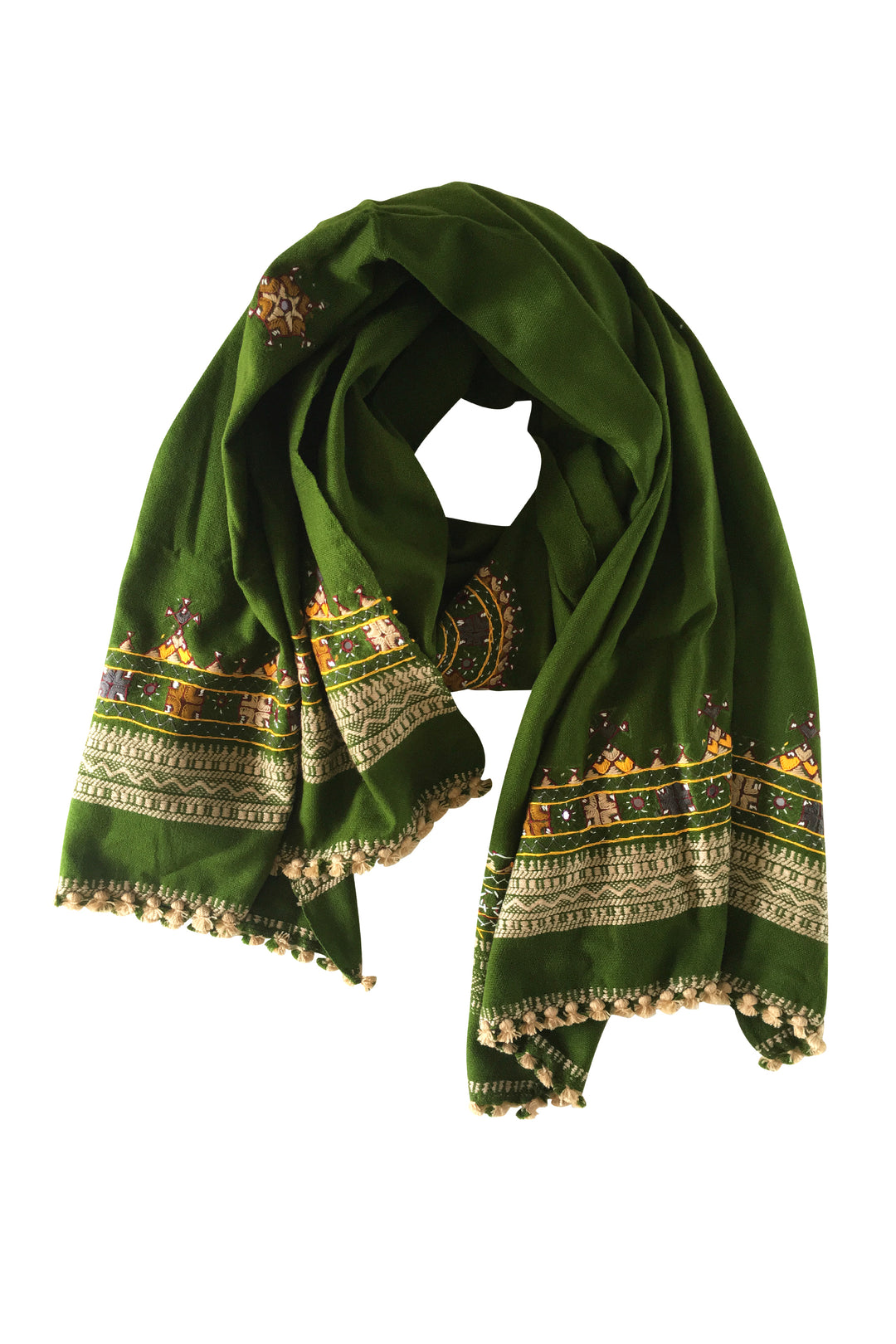 olive green embroidered shawl scarf