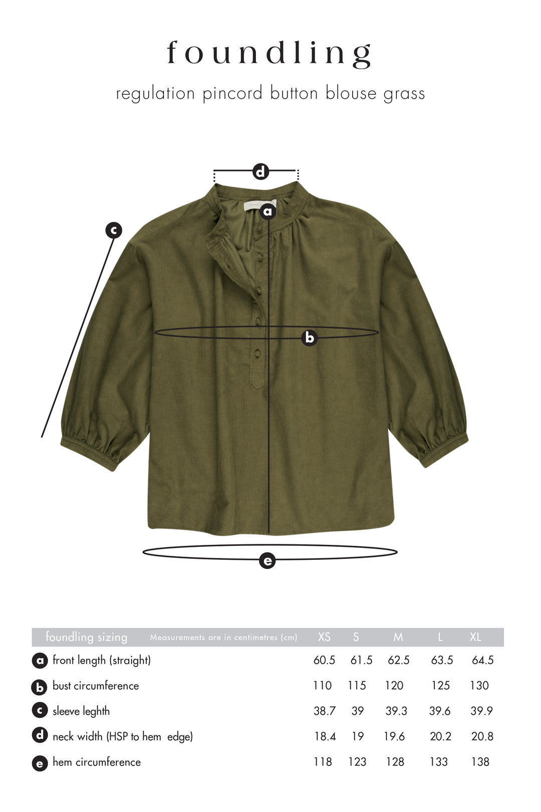Regulation Pincord Button Blouse Grass