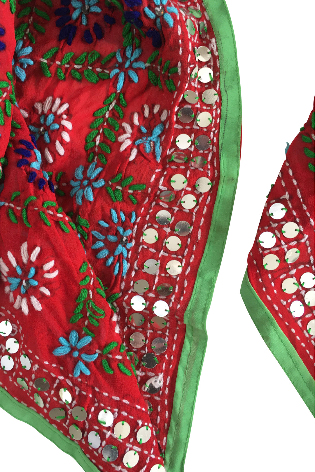 red embroidered punjab shawl