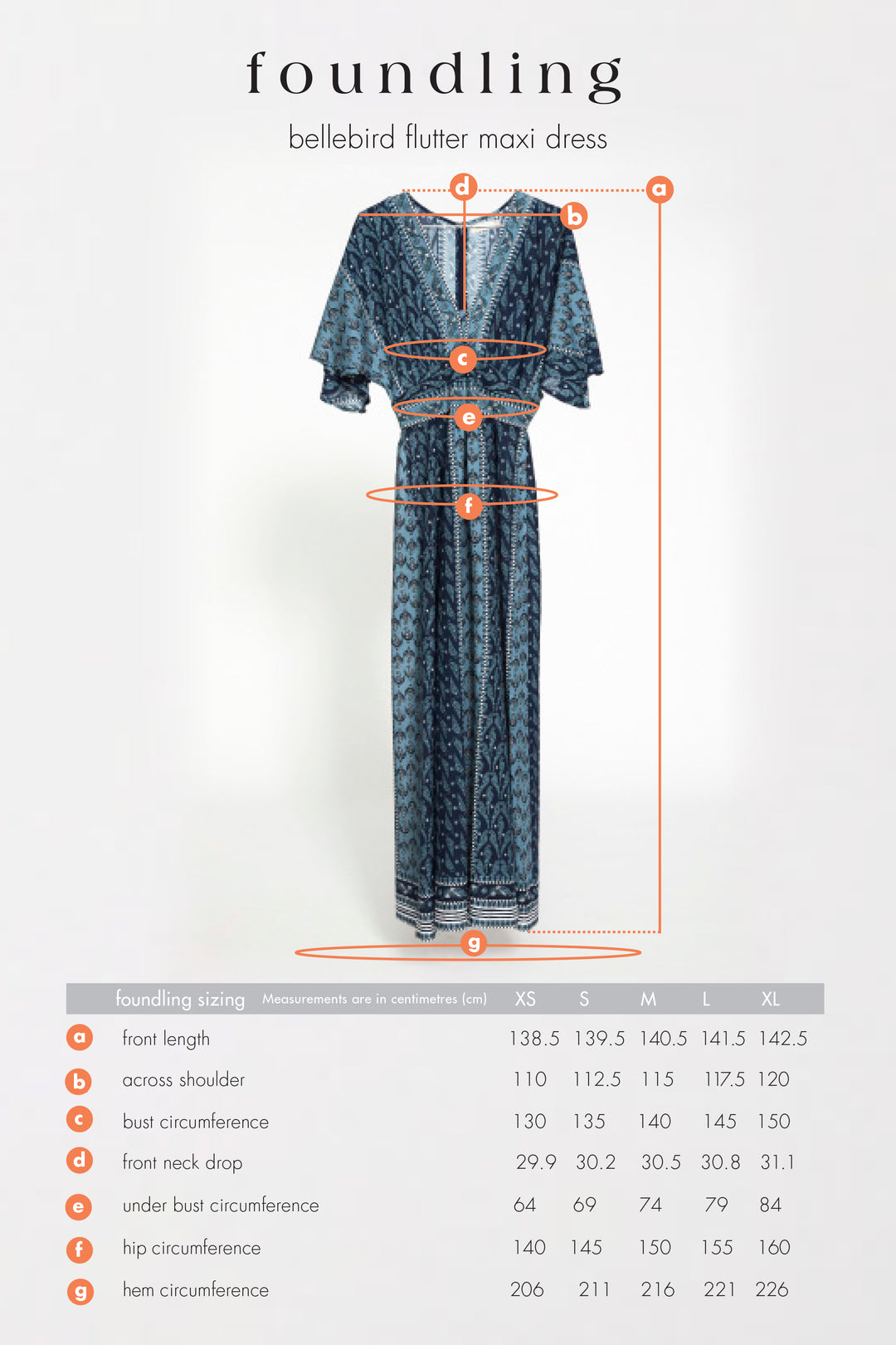blue maxi dress size guide