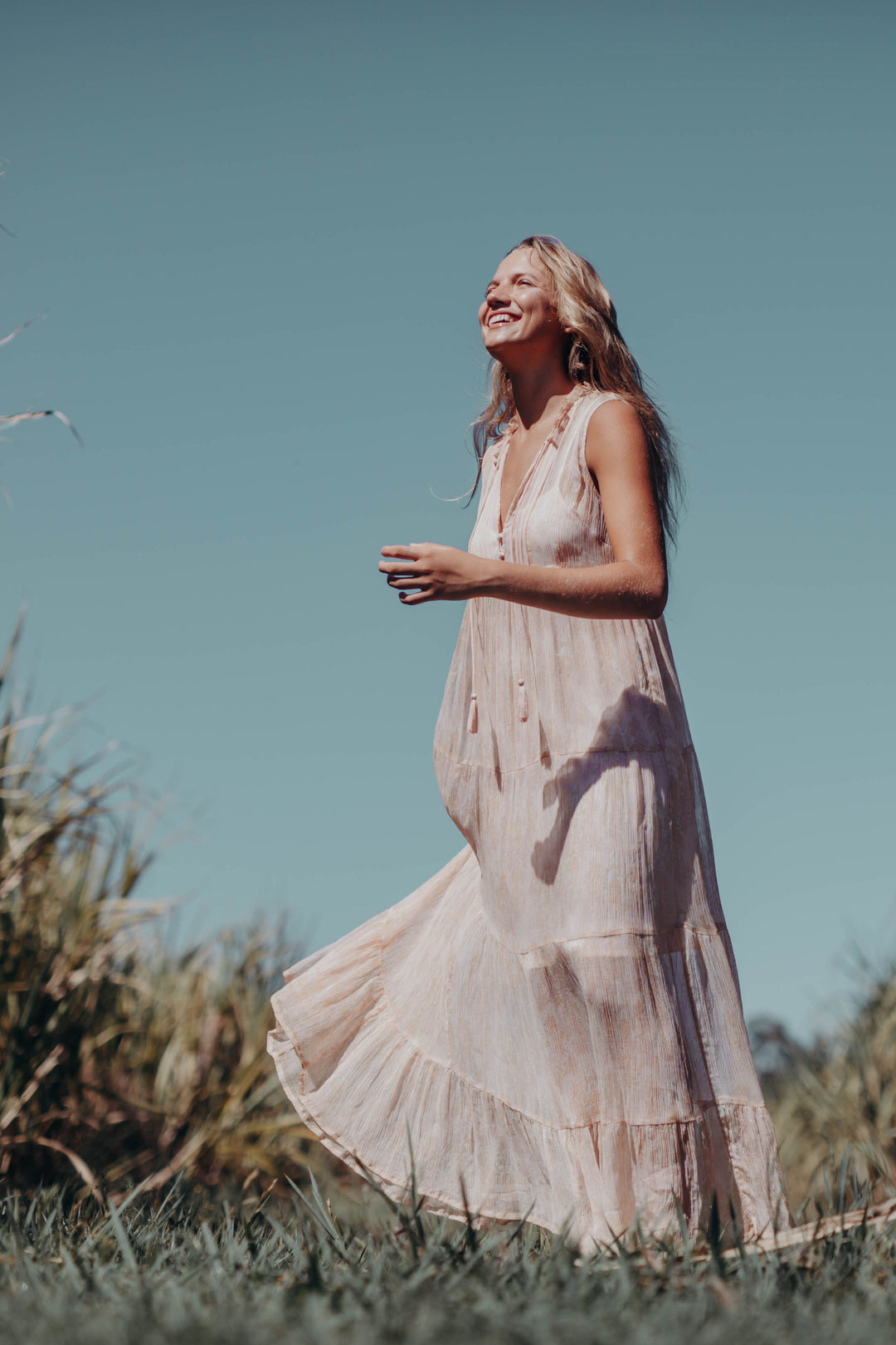 Rosewater tiered maxi dress