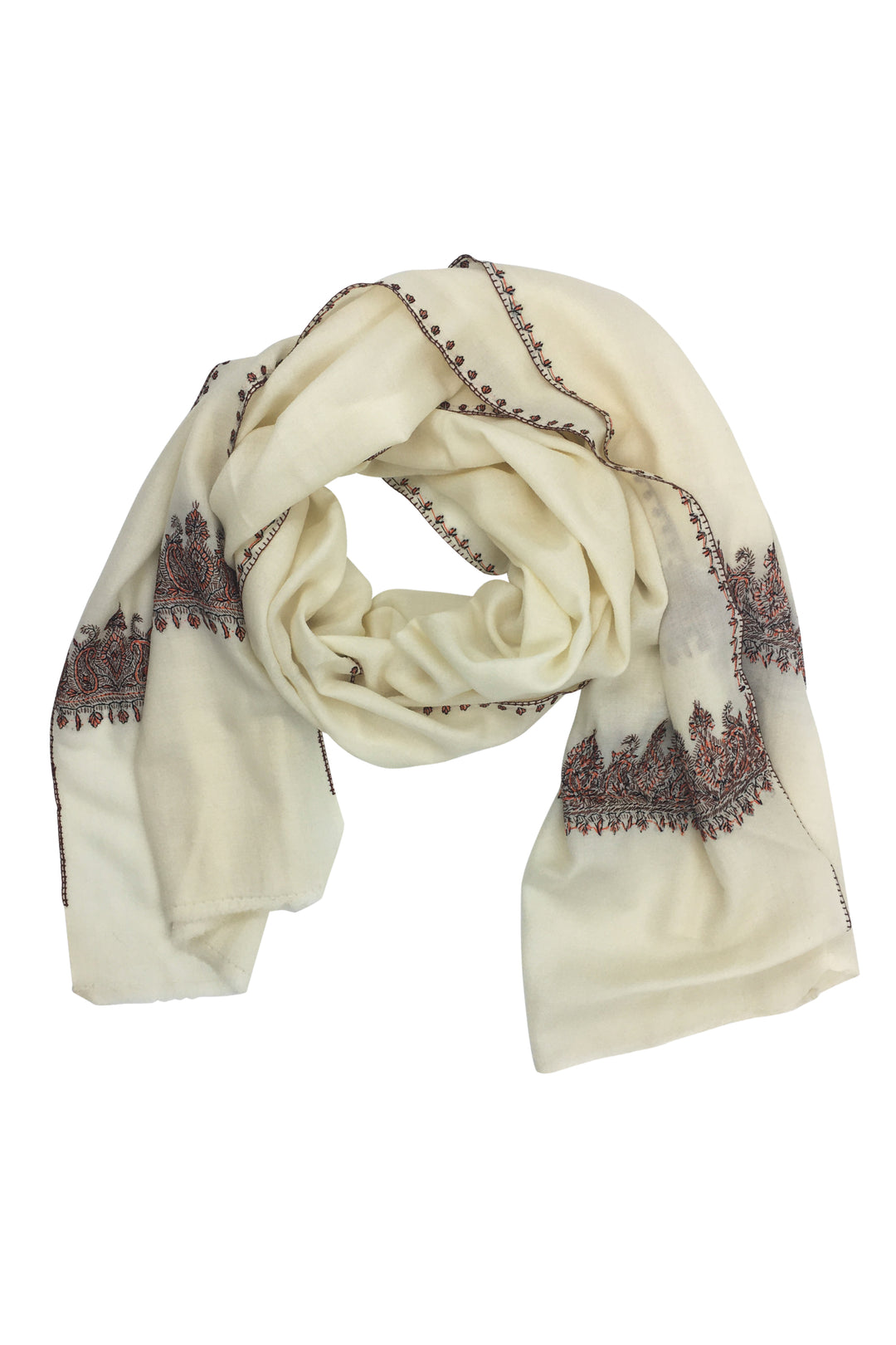 Sadi Embroidered Wool Shawl