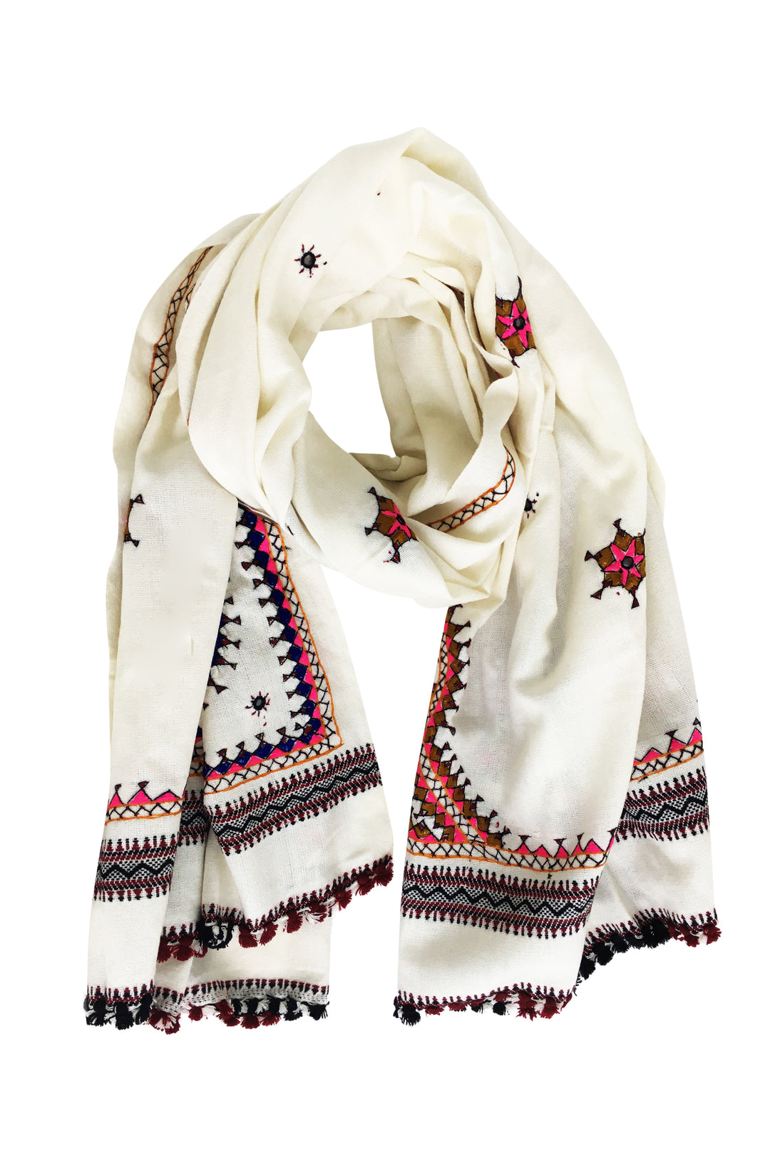 white indian embroidered shawl wool