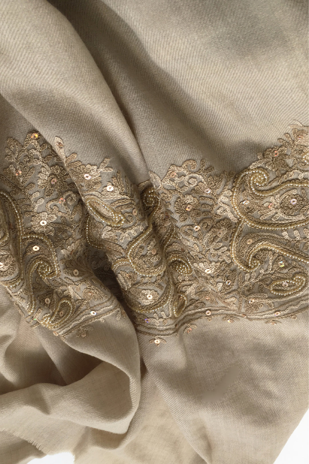 High tea in delhi embroidered wool shawl