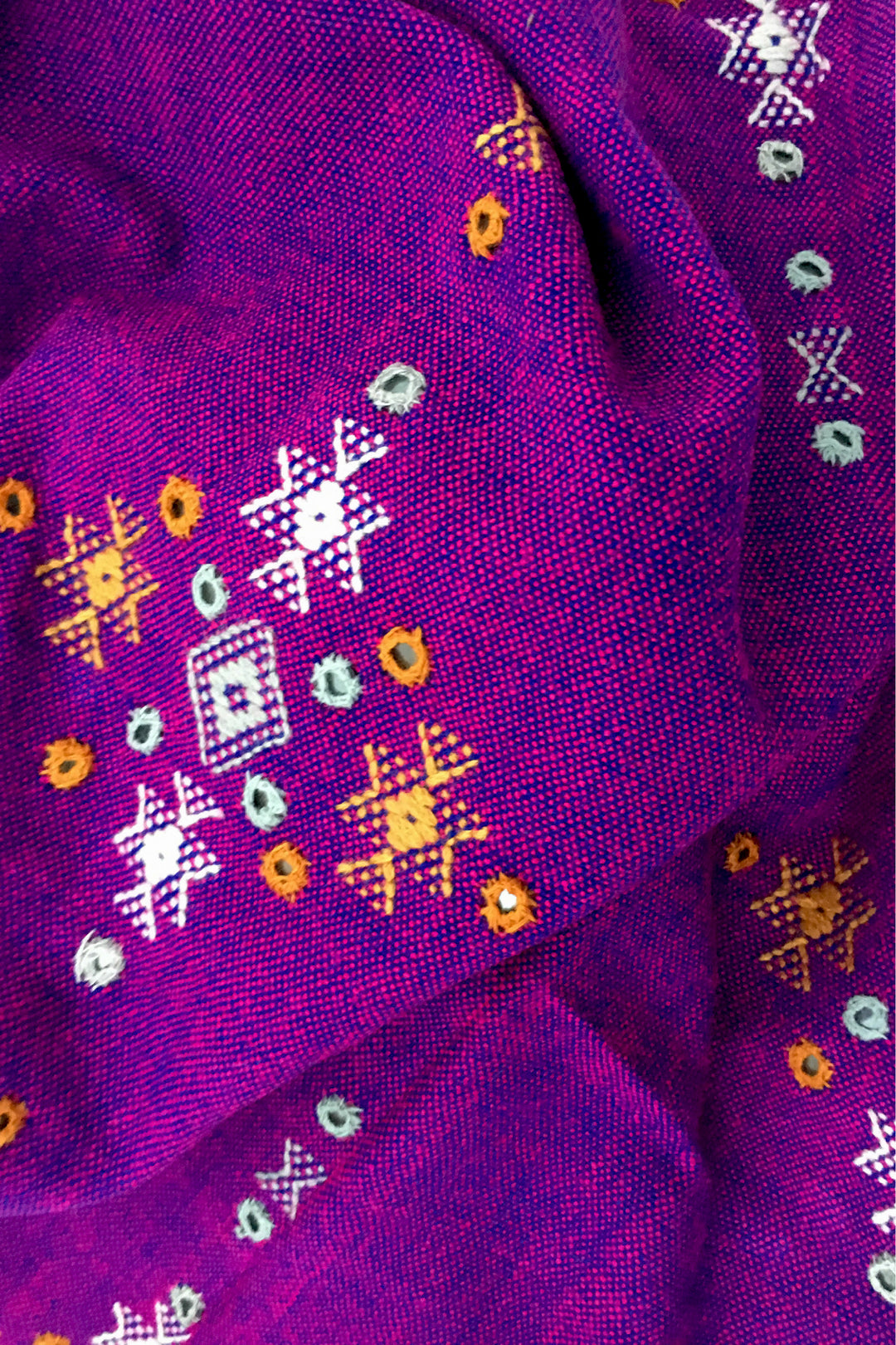 kutch embroidered oversized shawl neon violet