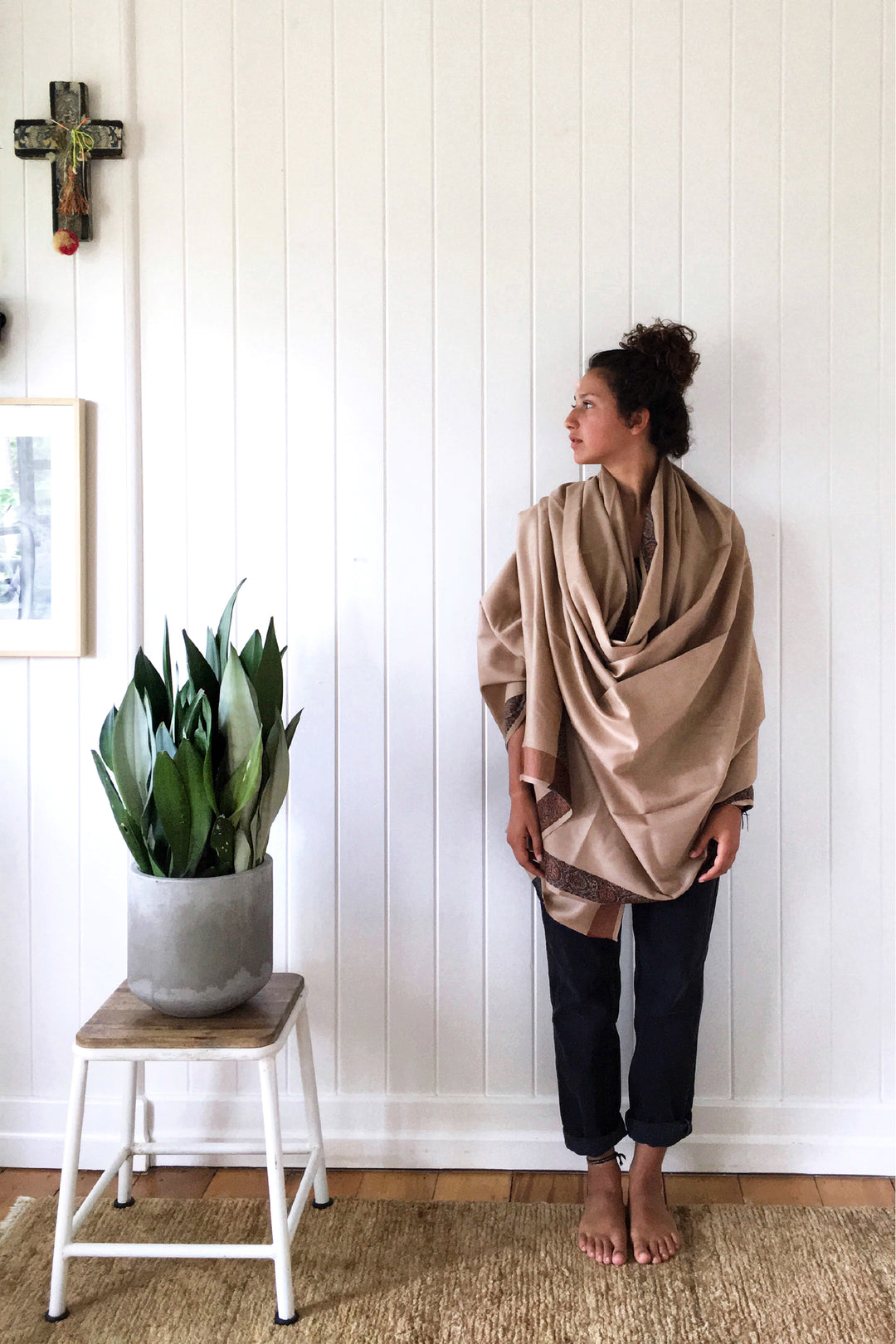Bedouin plaid wool cocoon oversized shawl