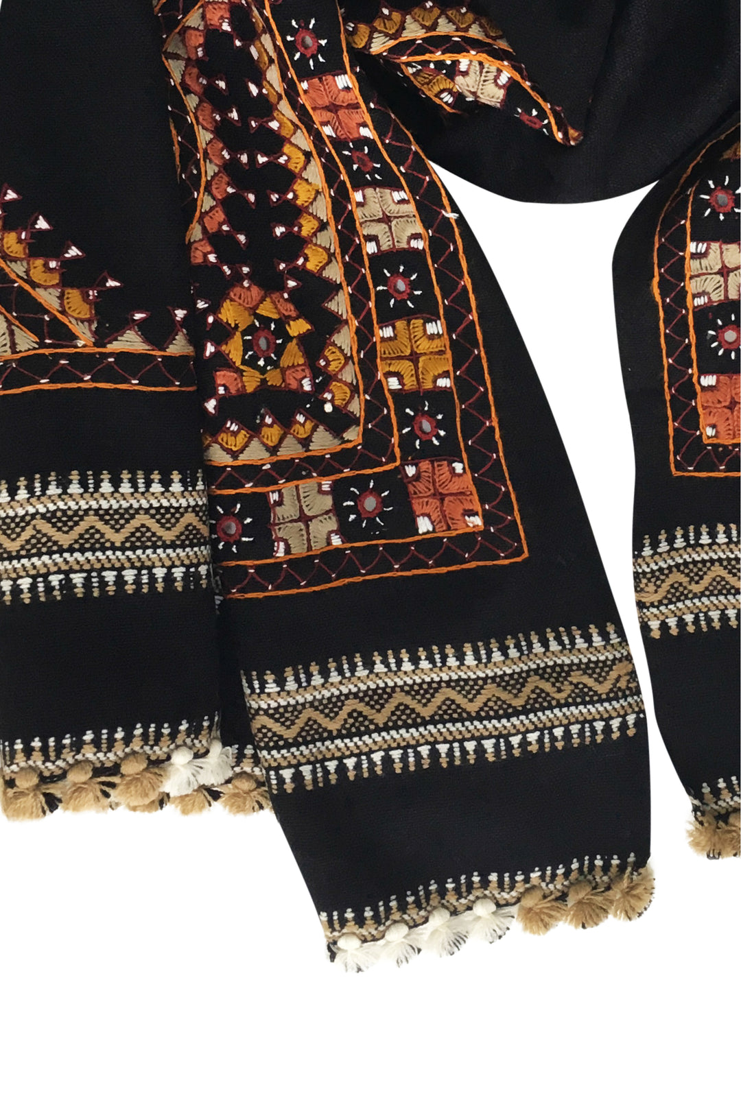kutch embroidered oversized shawl masala