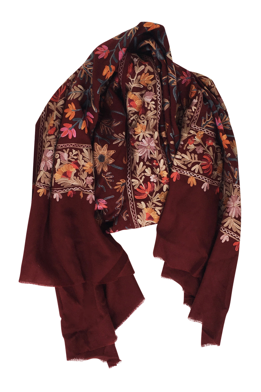 Shalimar embroidered wool shawl