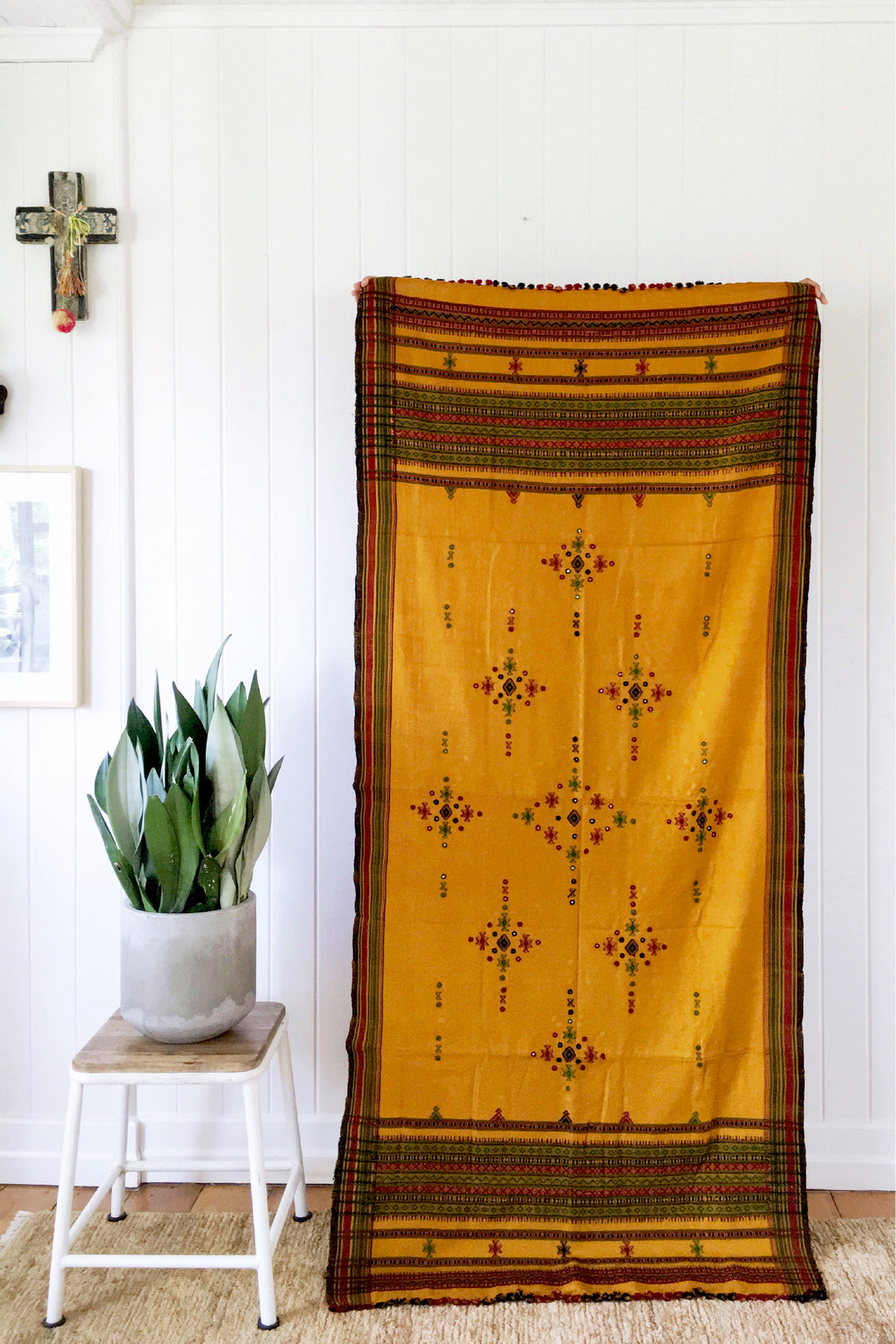 kutch embroidered oversized shawl mustard seed