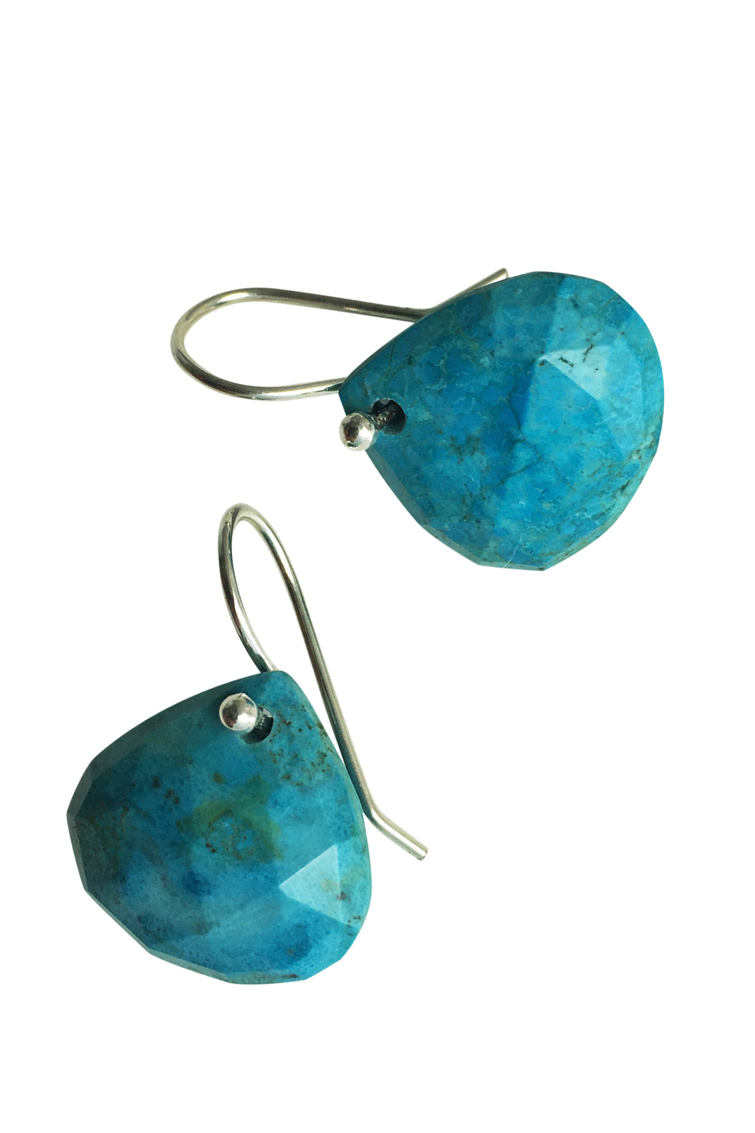 Turquoise teardrop earrings silver hook