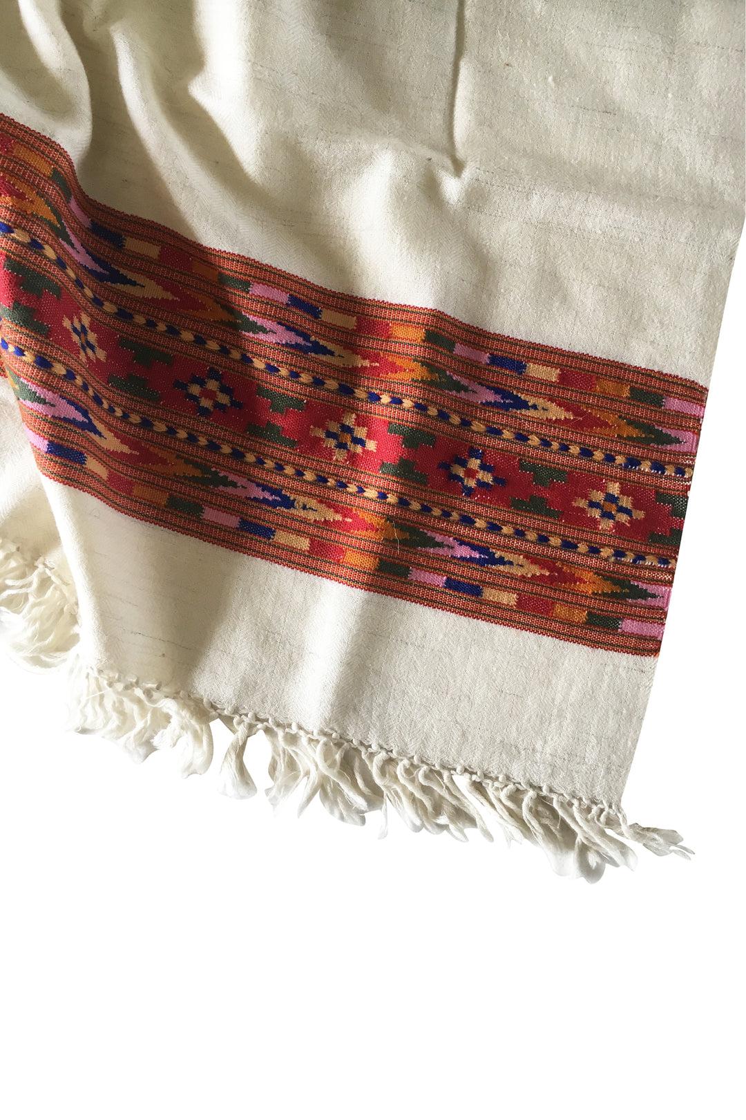 white wool embroidered shawl scarf