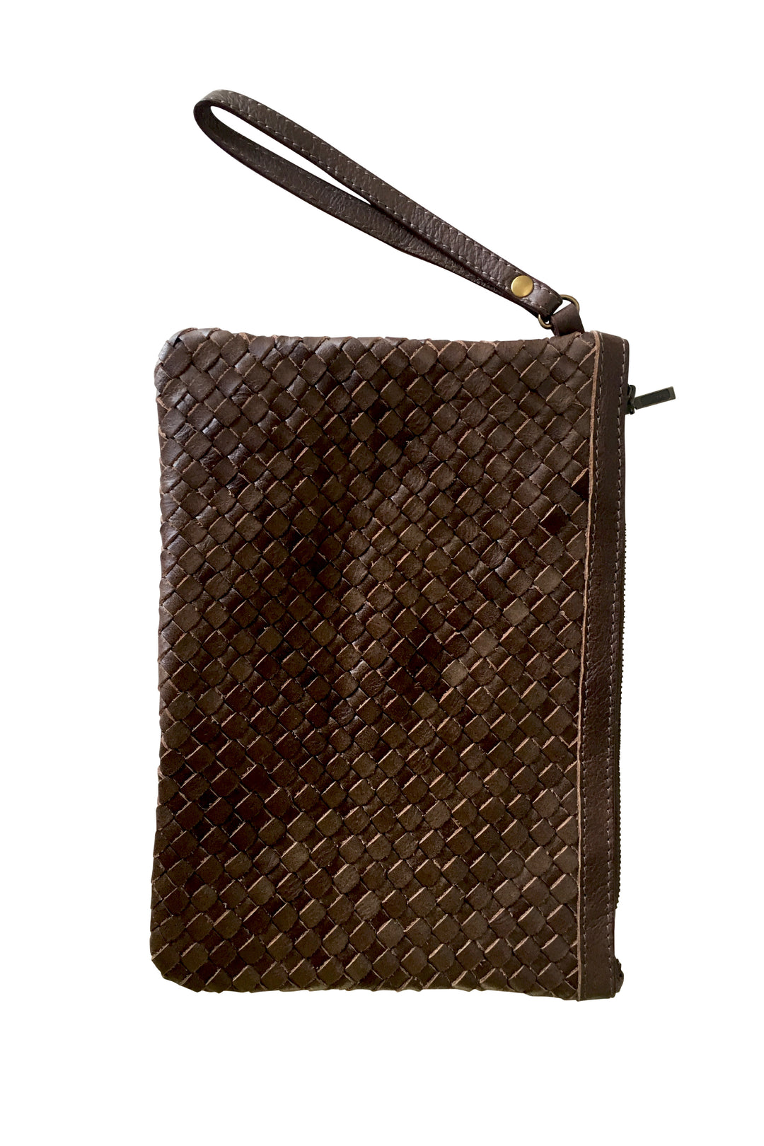 To have & to hold woven leather clutch