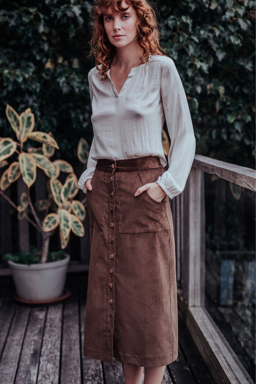 brown corduroy a line maxi skirt