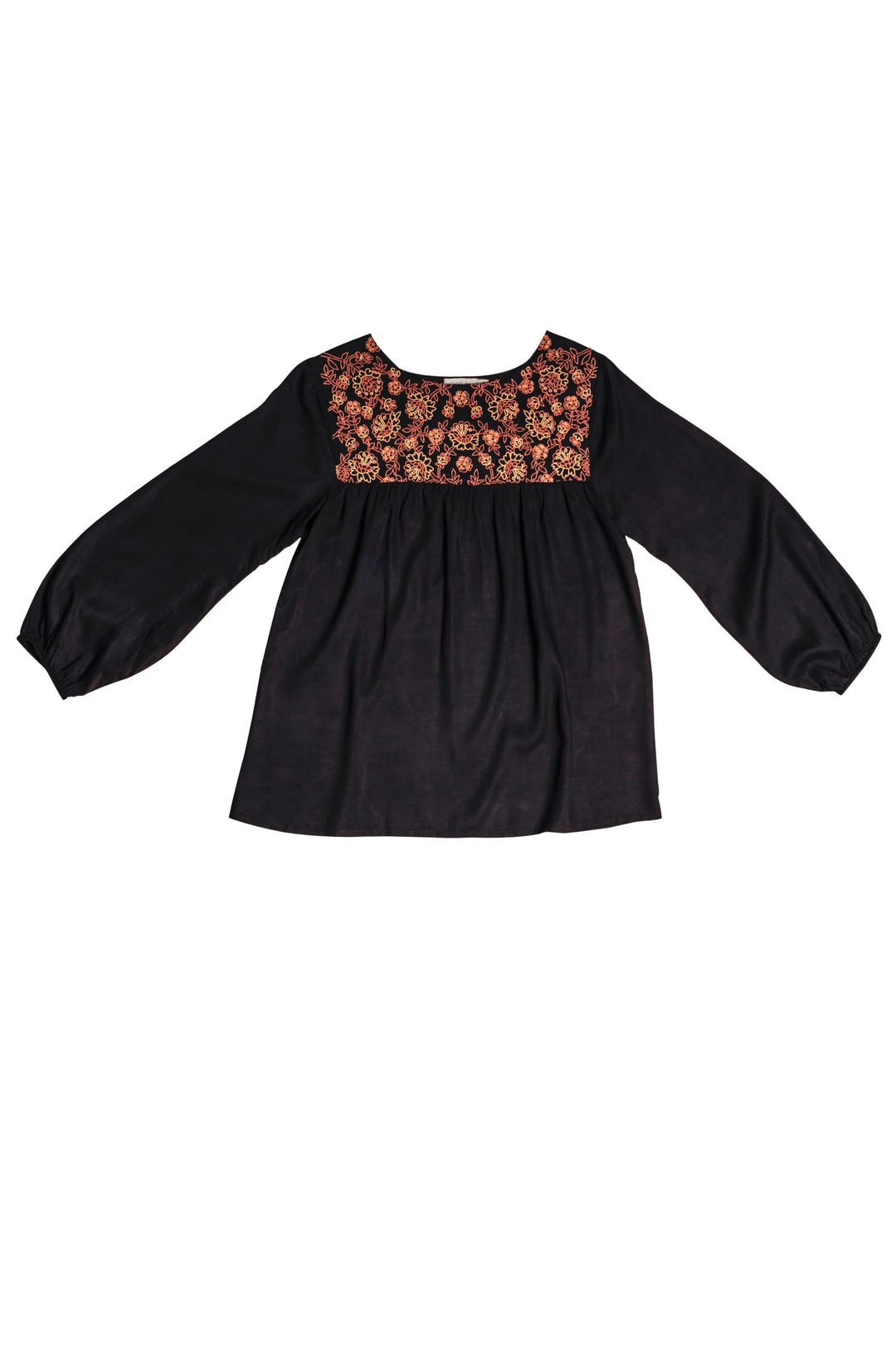 black embroidered artists smock blouse