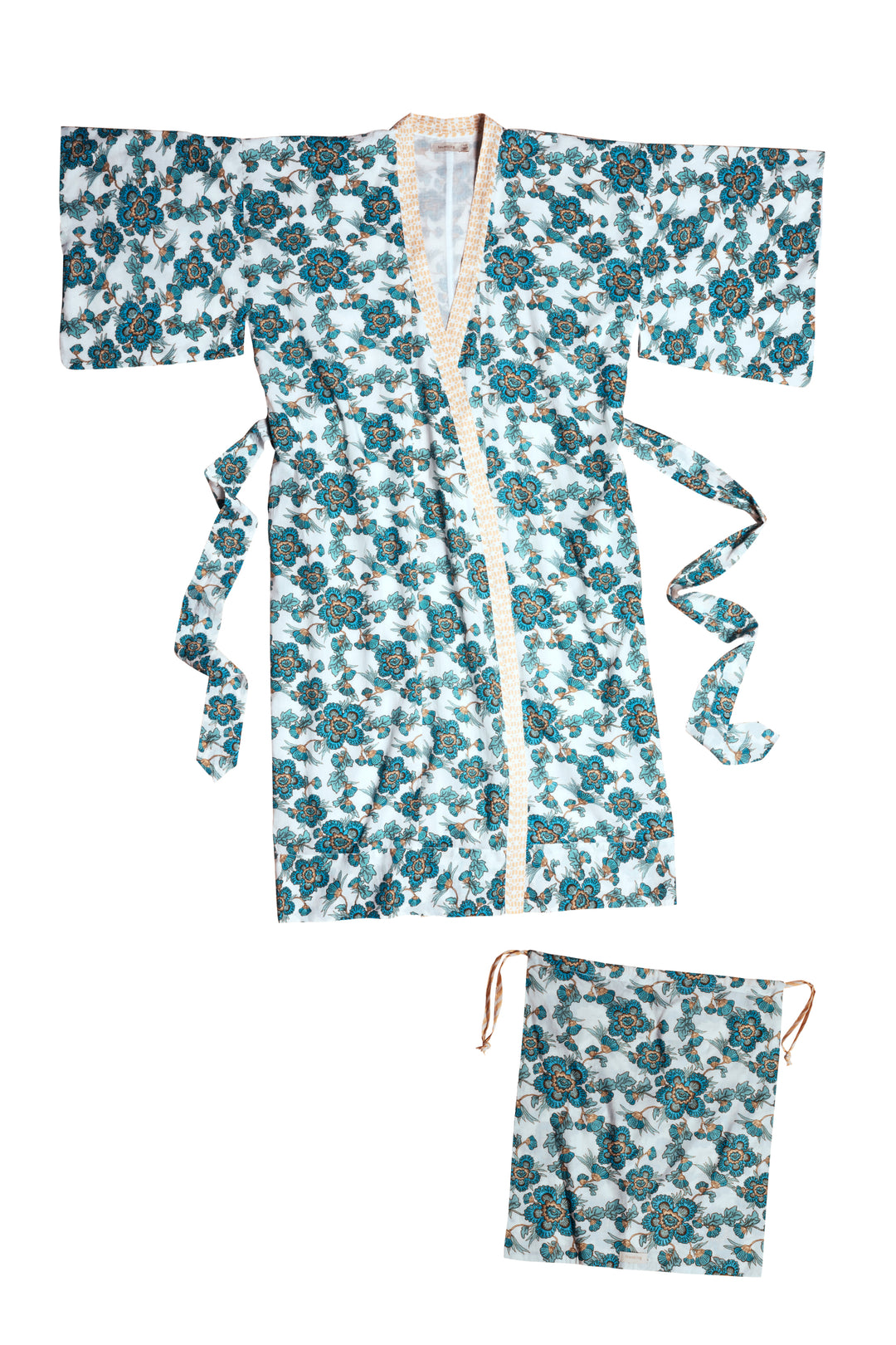 jaipur block print cotton kimono nightgown dressing gown