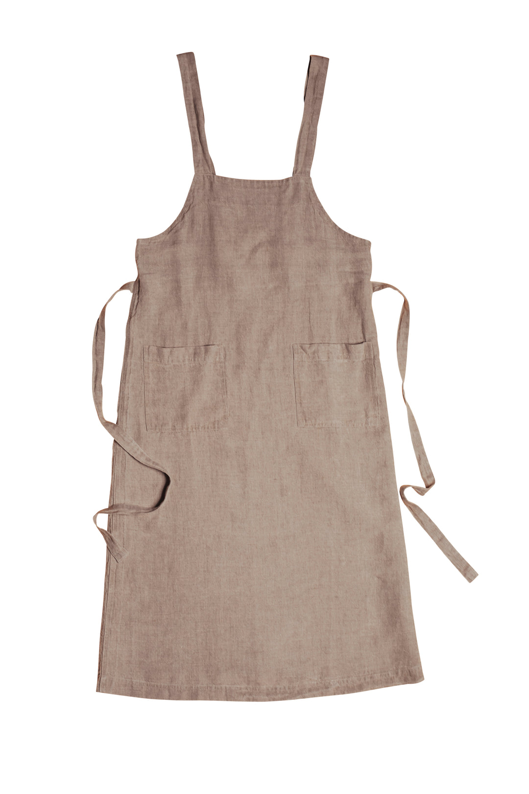 raw linen flax market apron pinafore dress